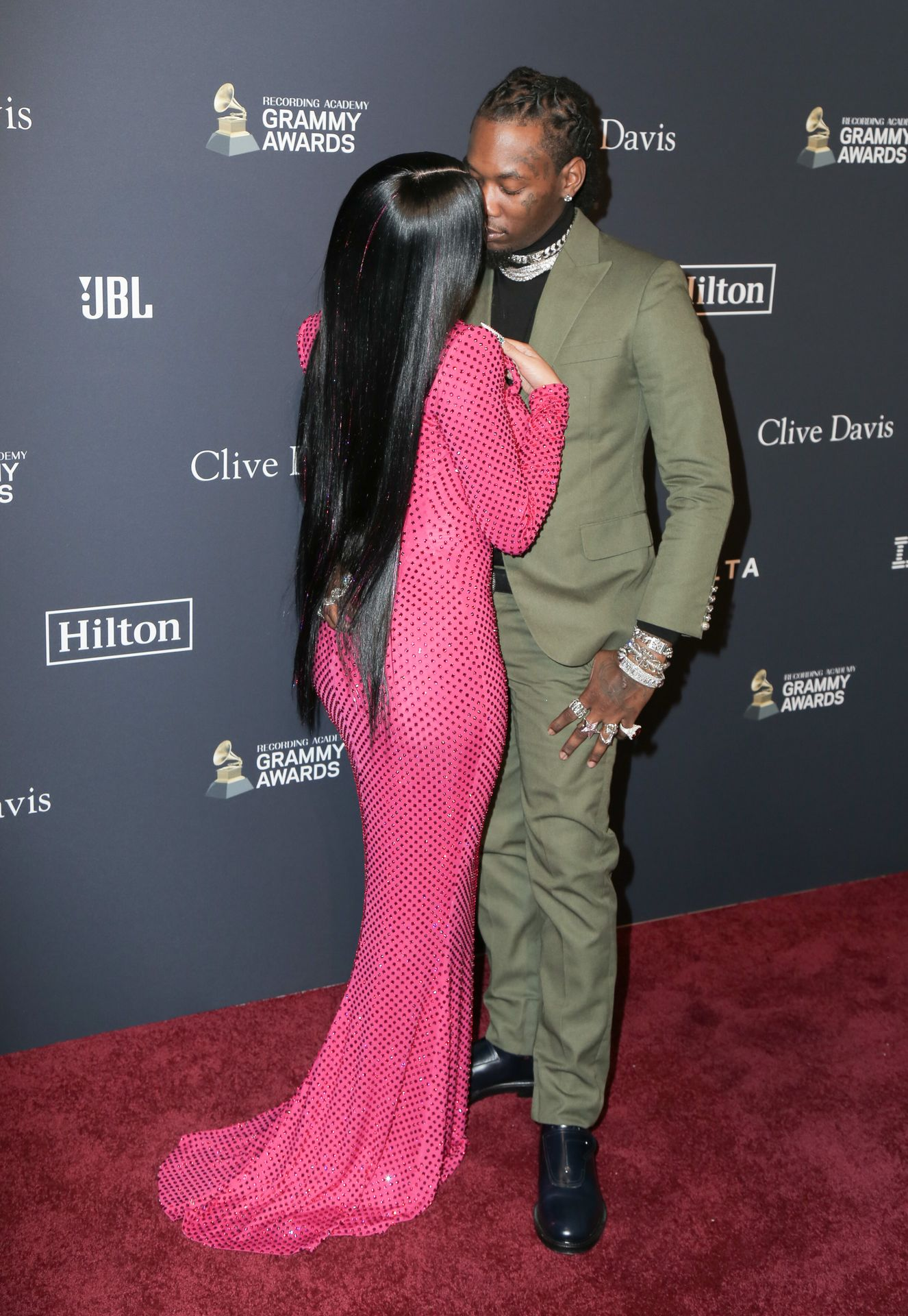 Offset Covers Cardi B's Boobs To Avoid Wardrobe Malfunction At Clive Davis Pre Grammy Party 0094