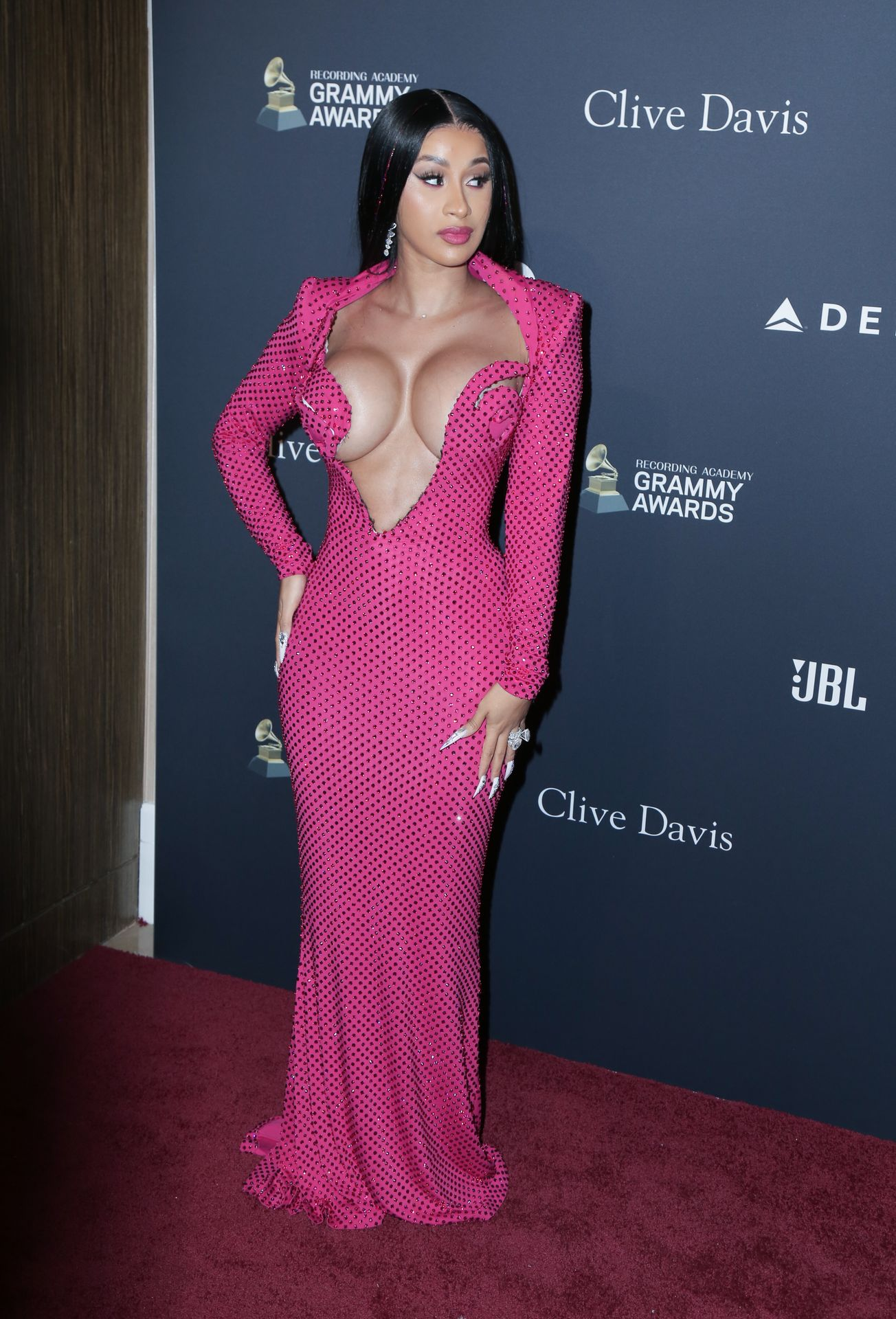 Offset Covers Cardi B's Boobs To Avoid Wardrobe Malfunction At Clive Davis Pre Grammy Party 0098