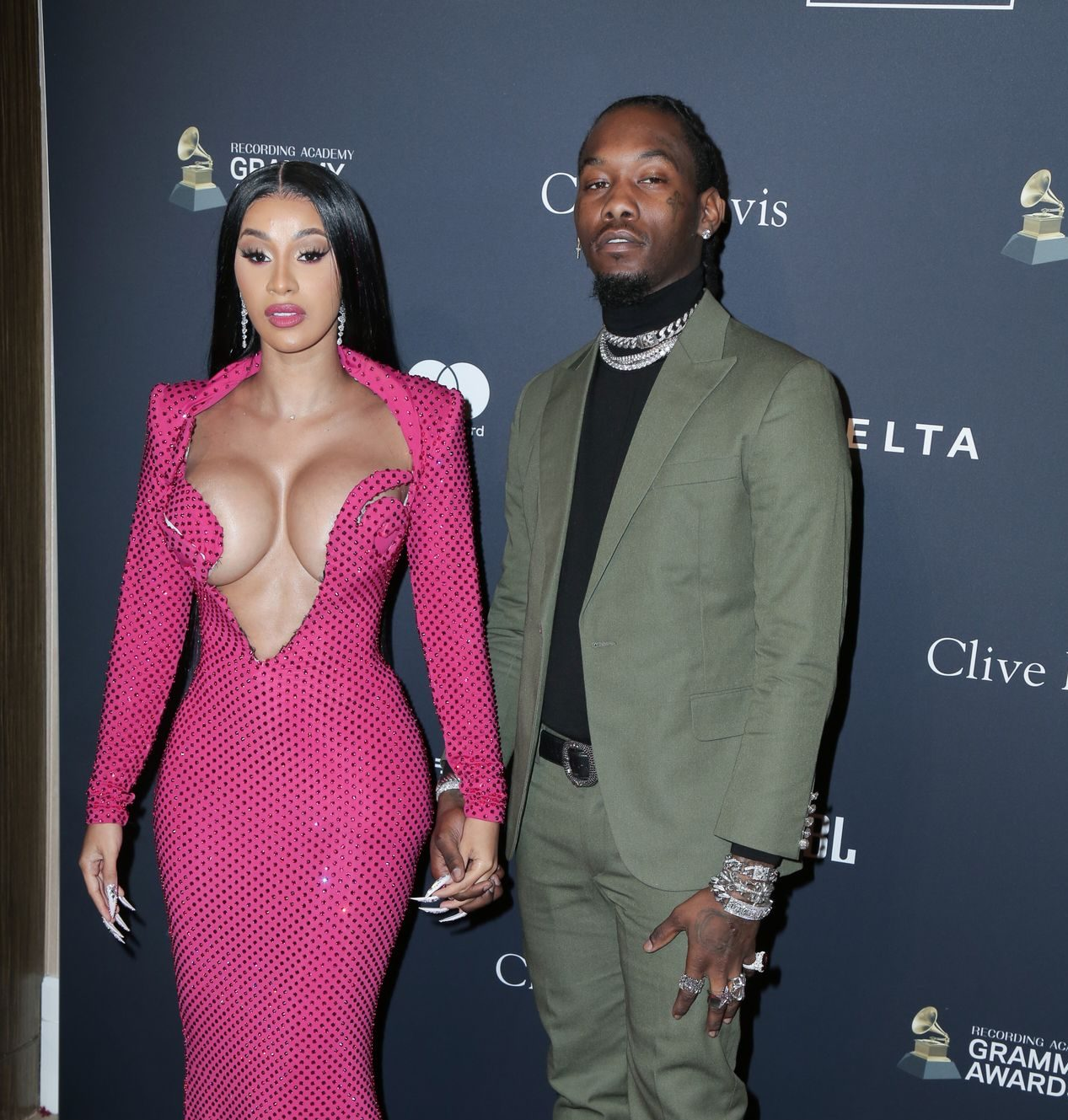 Offset Covers Cardi B's Boobs To Avoid Wardrobe Malfunction At Clive Davis Pre Grammy Party 0101