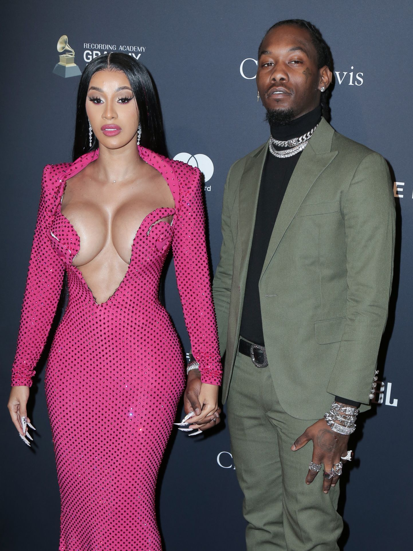 Offset Covers Cardi B's Boobs To Avoid Wardrobe Malfunction At Clive Davis Pre Grammy Party 0102