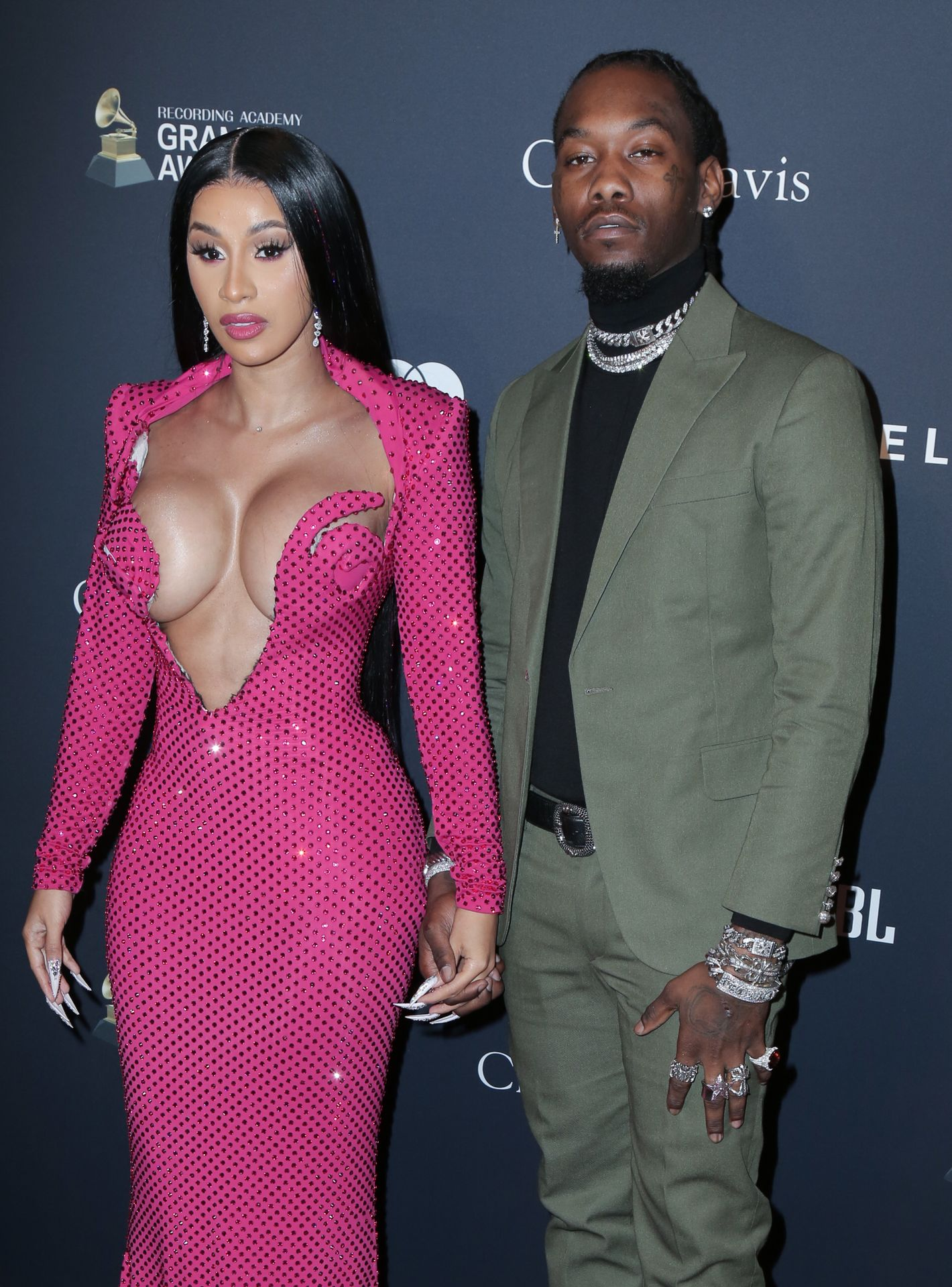 Offset Covers Cardi B's Boobs To Avoid Wardrobe Malfunction At Clive Davis Pre Grammy Party 0103