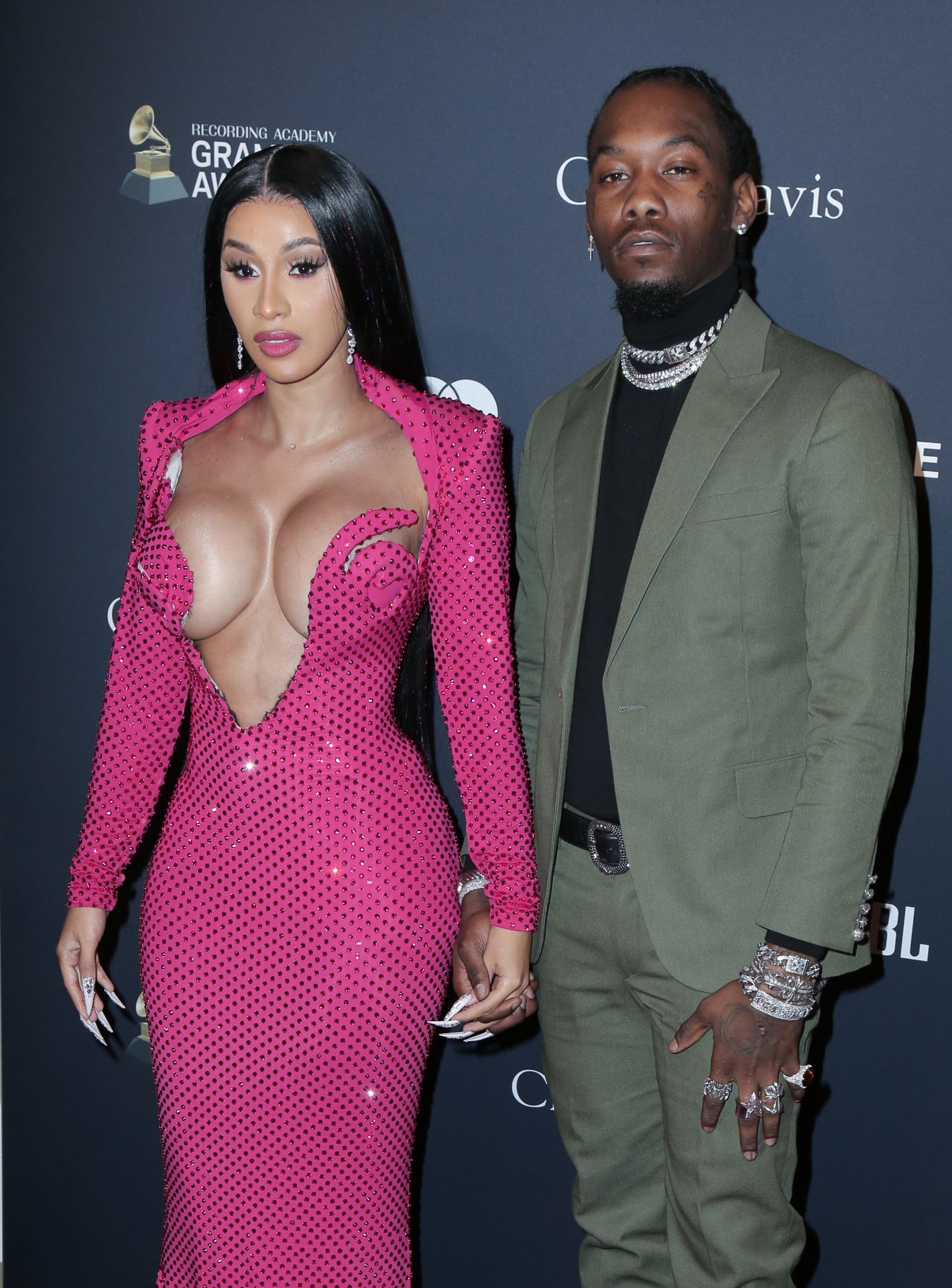 Offset Covers Cardi B's Boobs To Avoid Wardrobe Malfunction At Clive Davis Pre Grammy Party 0104