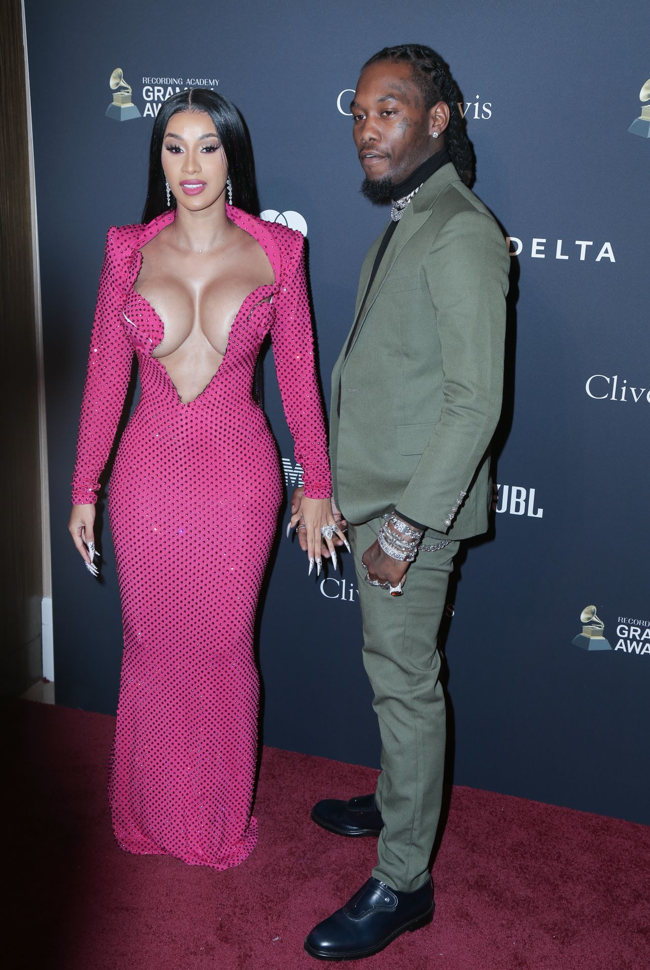 Offset Covers Cardi B's Boobs To Avoid Wardrobe Malfunction At Clive Davis Pre Grammy Party 0105