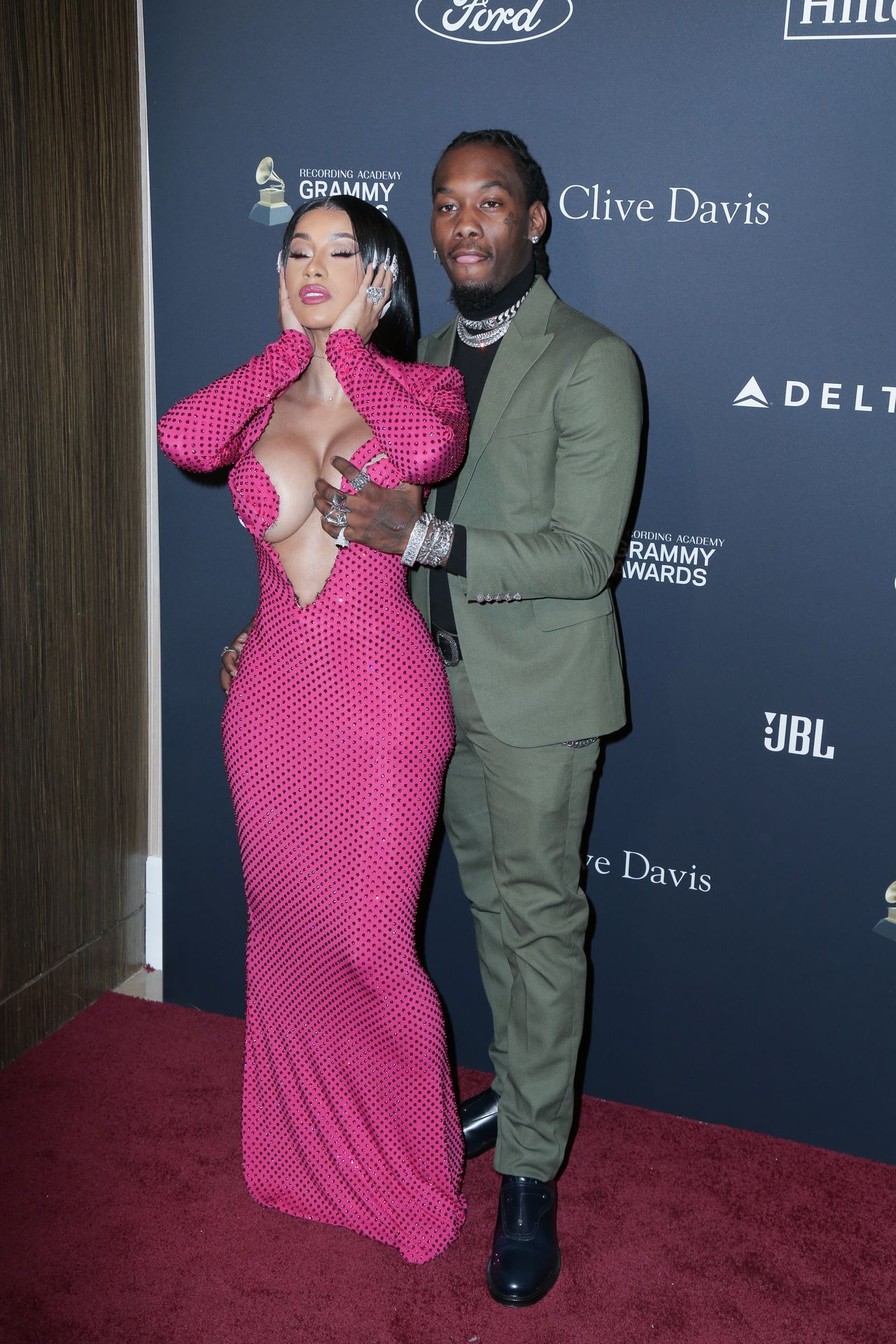 Offset Covers Cardi B's Boobs To Avoid Wardrobe Malfunction At Clive Davis Pre Grammy Party 0106