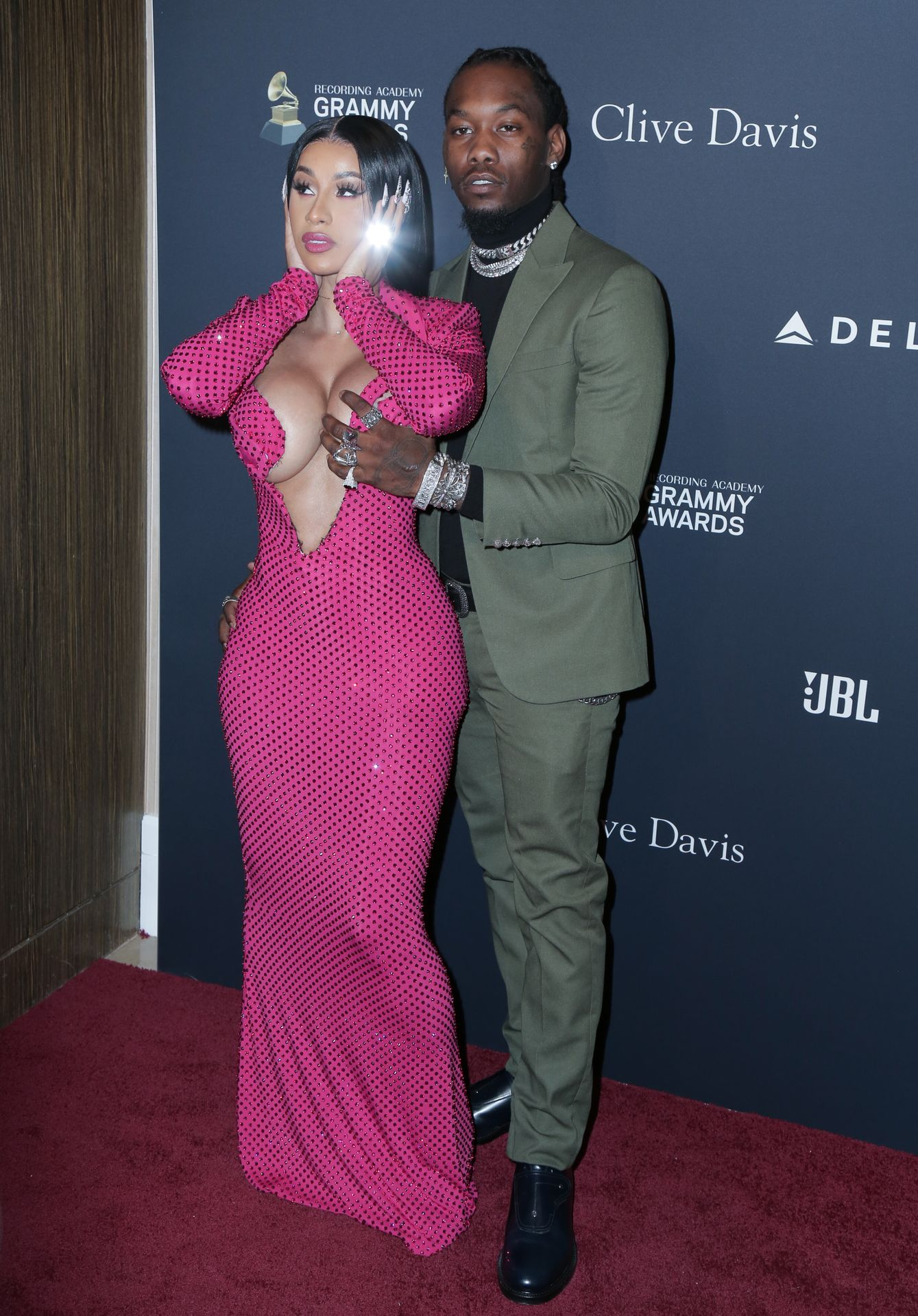 Offset Covers Cardi B's Boobs To Avoid Wardrobe Malfunction At Clive Davis Pre Grammy Party 0108