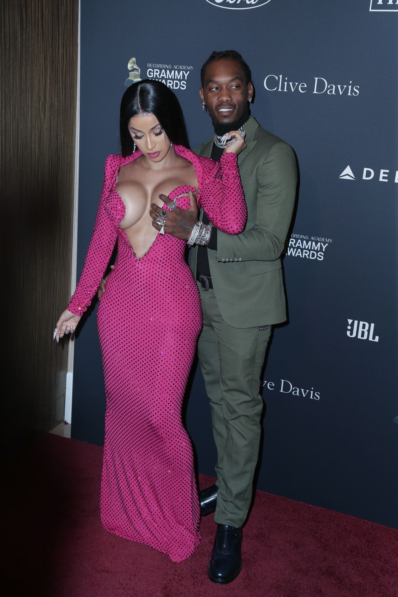 Offset Covers Cardi B's Boobs To Avoid Wardrobe Malfunction At Clive Davis Pre Grammy Party 0112