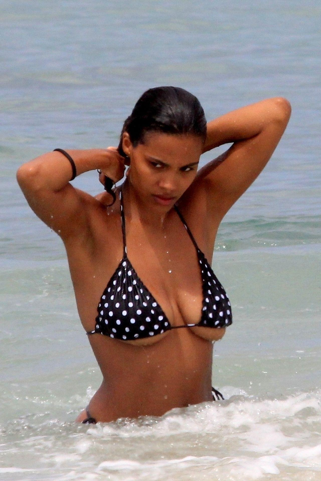 Tina Kunakey Nearly Nip Slip While Frolicking On The Beach In Rio 0002