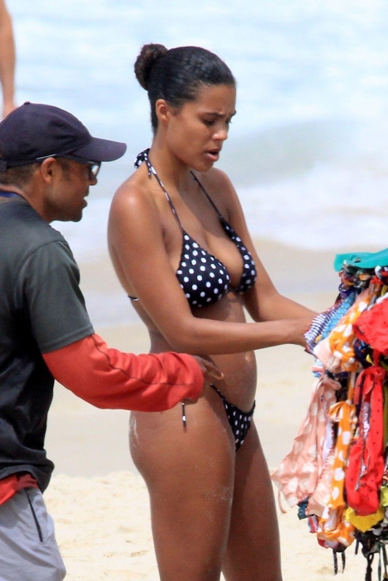 Tina Kunakey Nearly Nip Slip While Frolicking On The Beach In Rio 0014