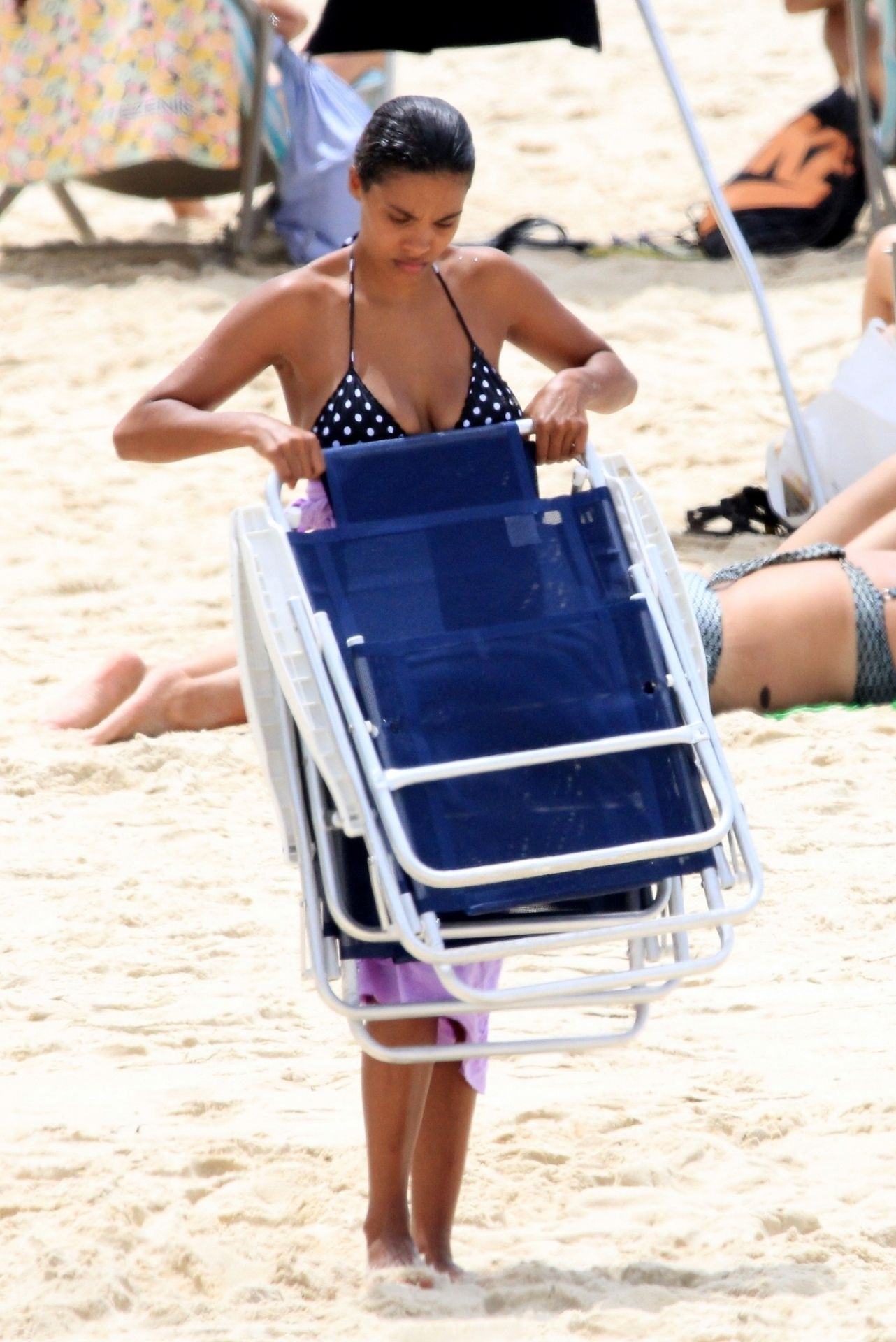 Tina Kunakey Nearly Nip Slip While Frolicking On The Beach In Rio 0022