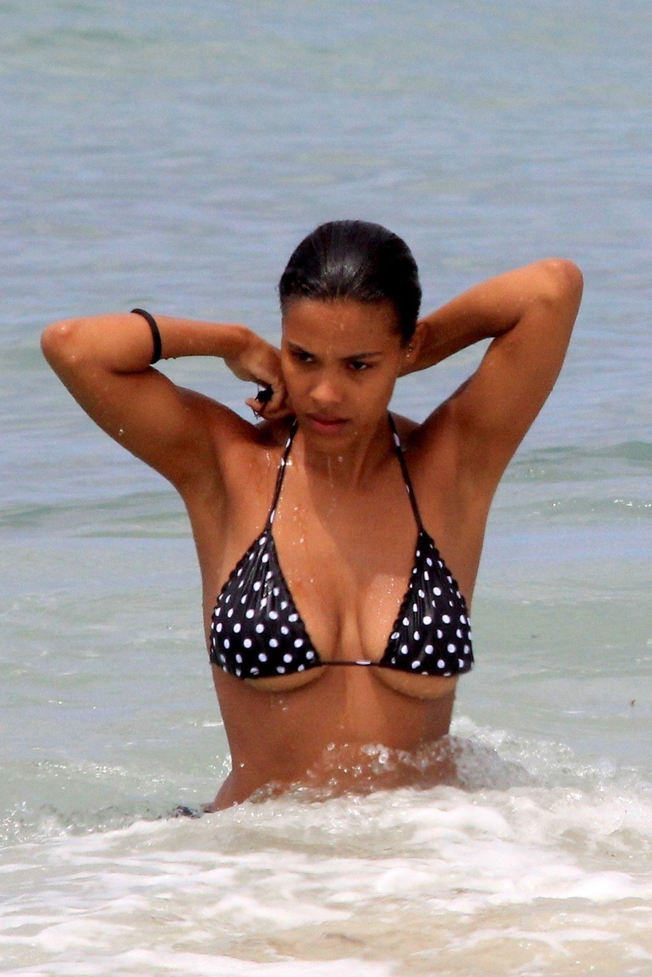 Tina Kunakey Nearly Nip Slip While Frolicking On The Beach In Rio 0044