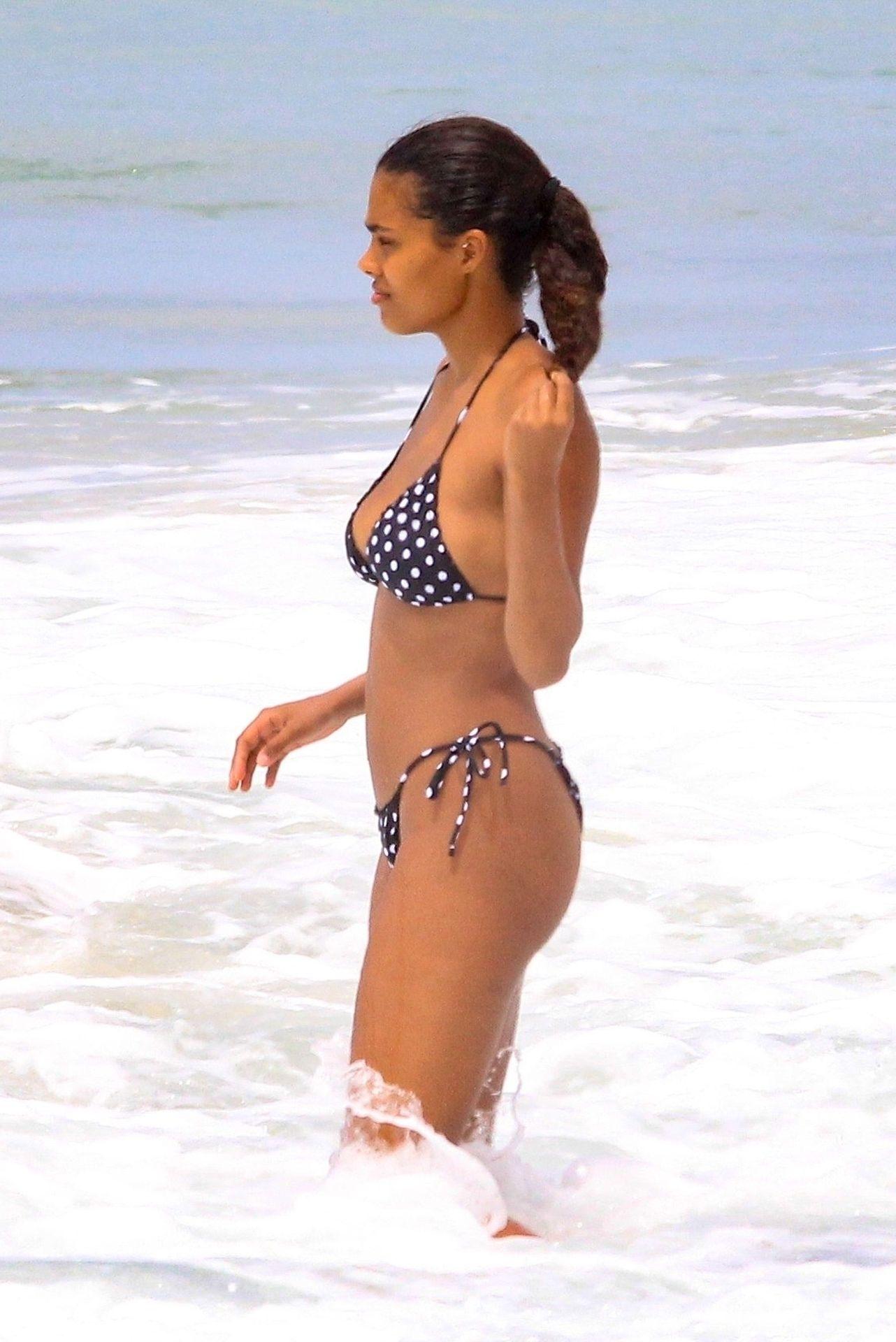 Tina Kunakey Nearly Nip Slip While Frolicking On The Beach In Rio 0045
