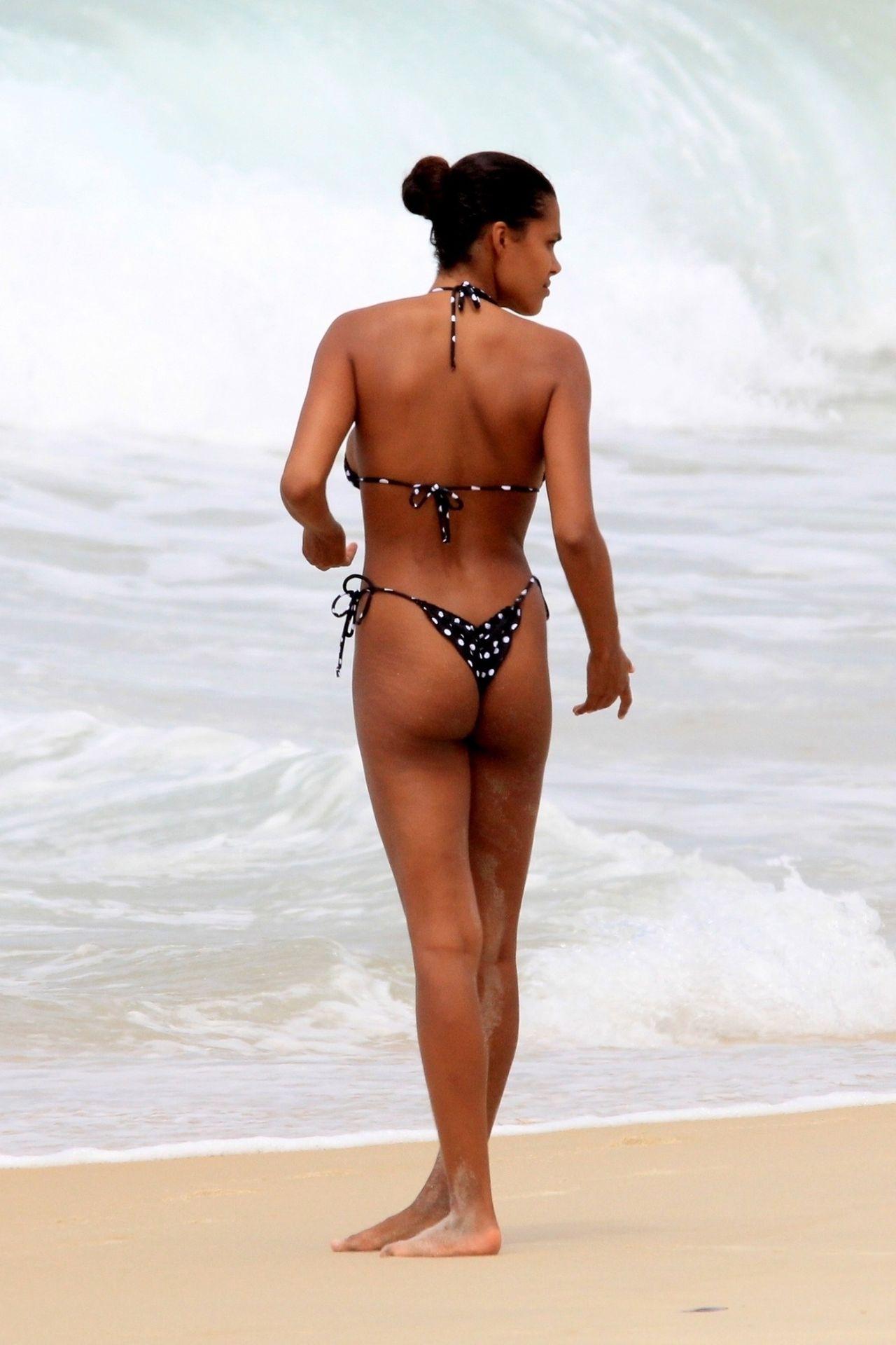 Tina Kunakey Nearly Nip Slip While Frolicking On The Beach In Rio 0051