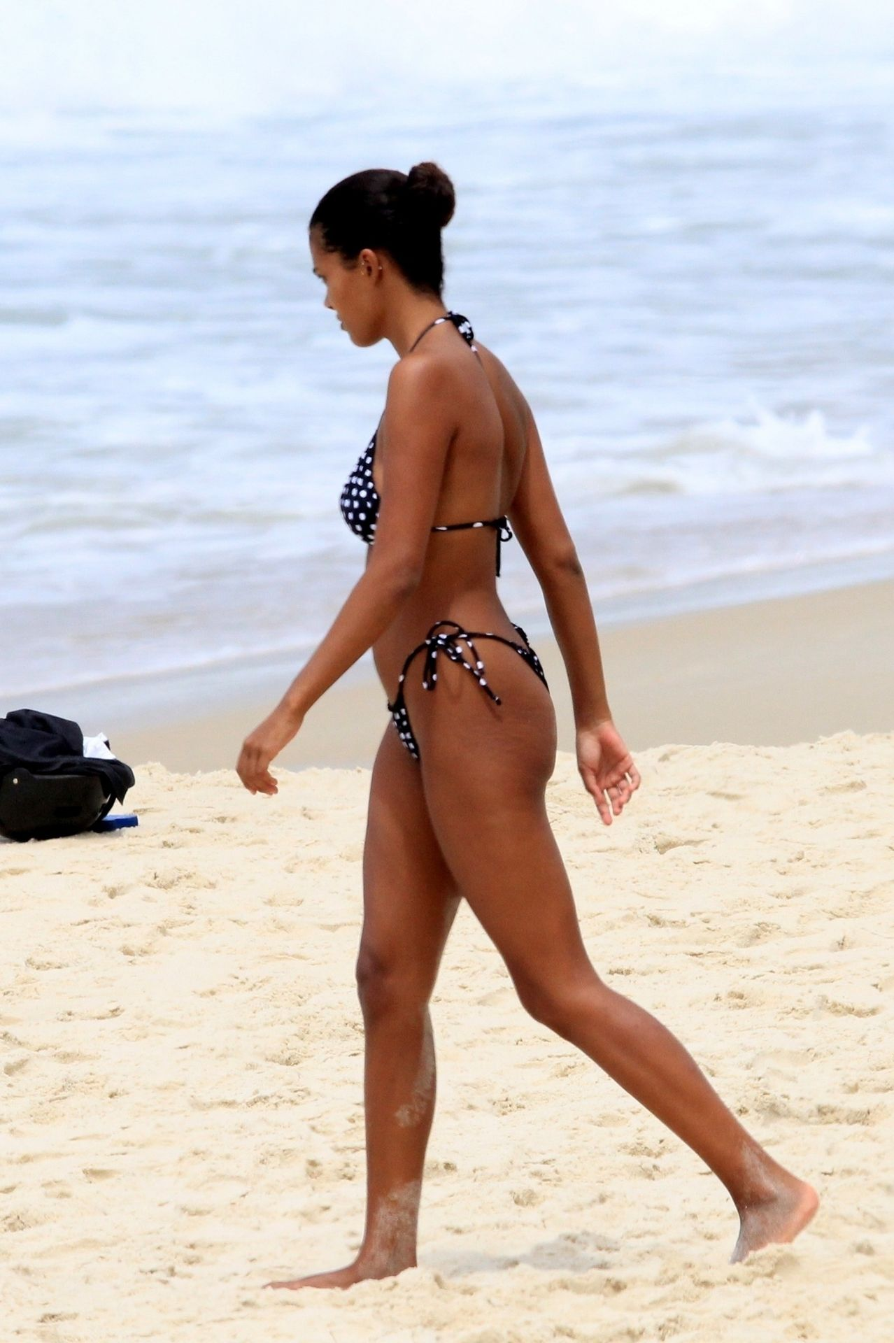 Tina Kunakey Nearly Nip Slip While Frolicking On The Beach In Rio 0057