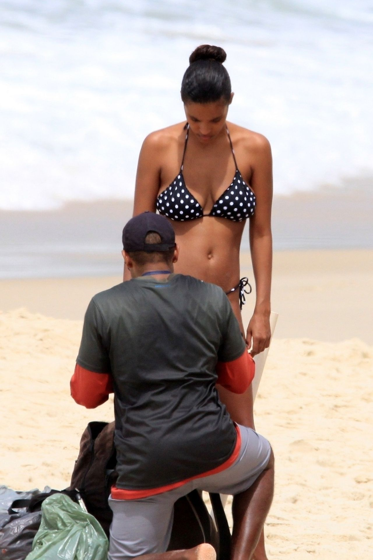 Tina Kunakey Nearly Nip Slip While Frolicking On The Beach In Rio 0058