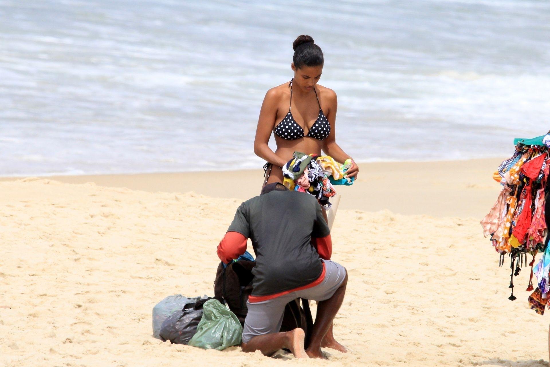 Tina Kunakey Nearly Nip Slip While Frolicking On The Beach In Rio 0059