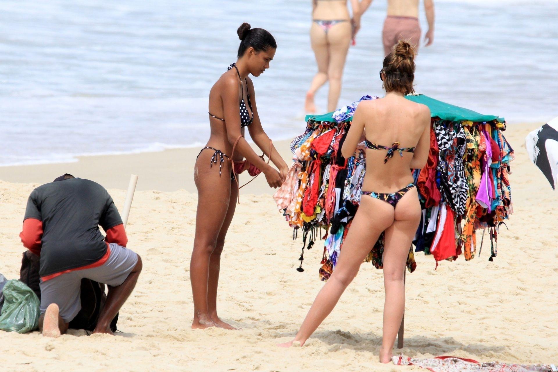 Tina Kunakey Nearly Nip Slip While Frolicking On The Beach In Rio 0063