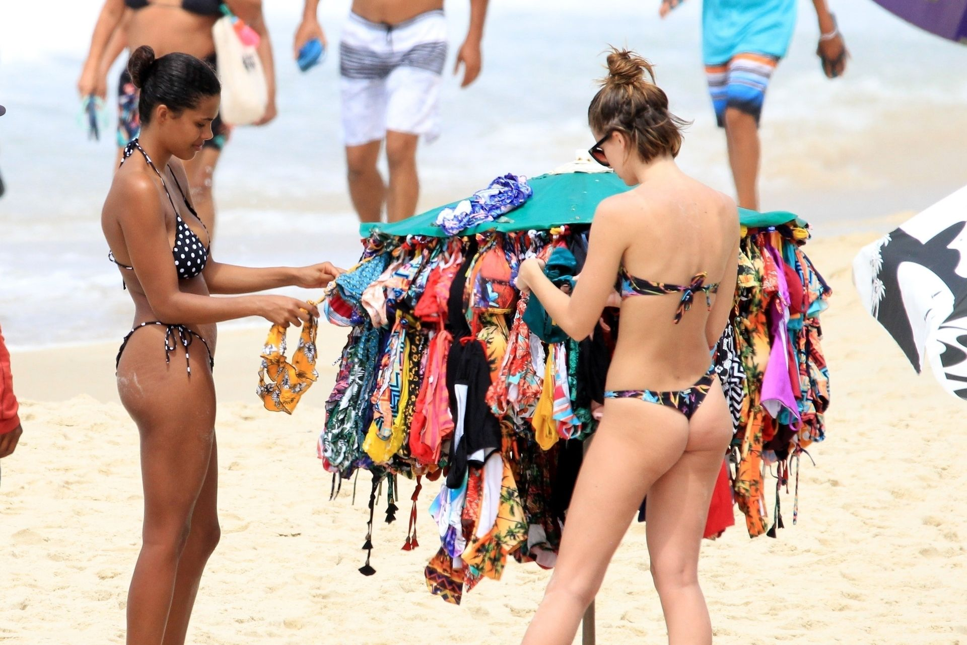 Tina Kunakey Nearly Nip Slip While Frolicking On The Beach In Rio 0066