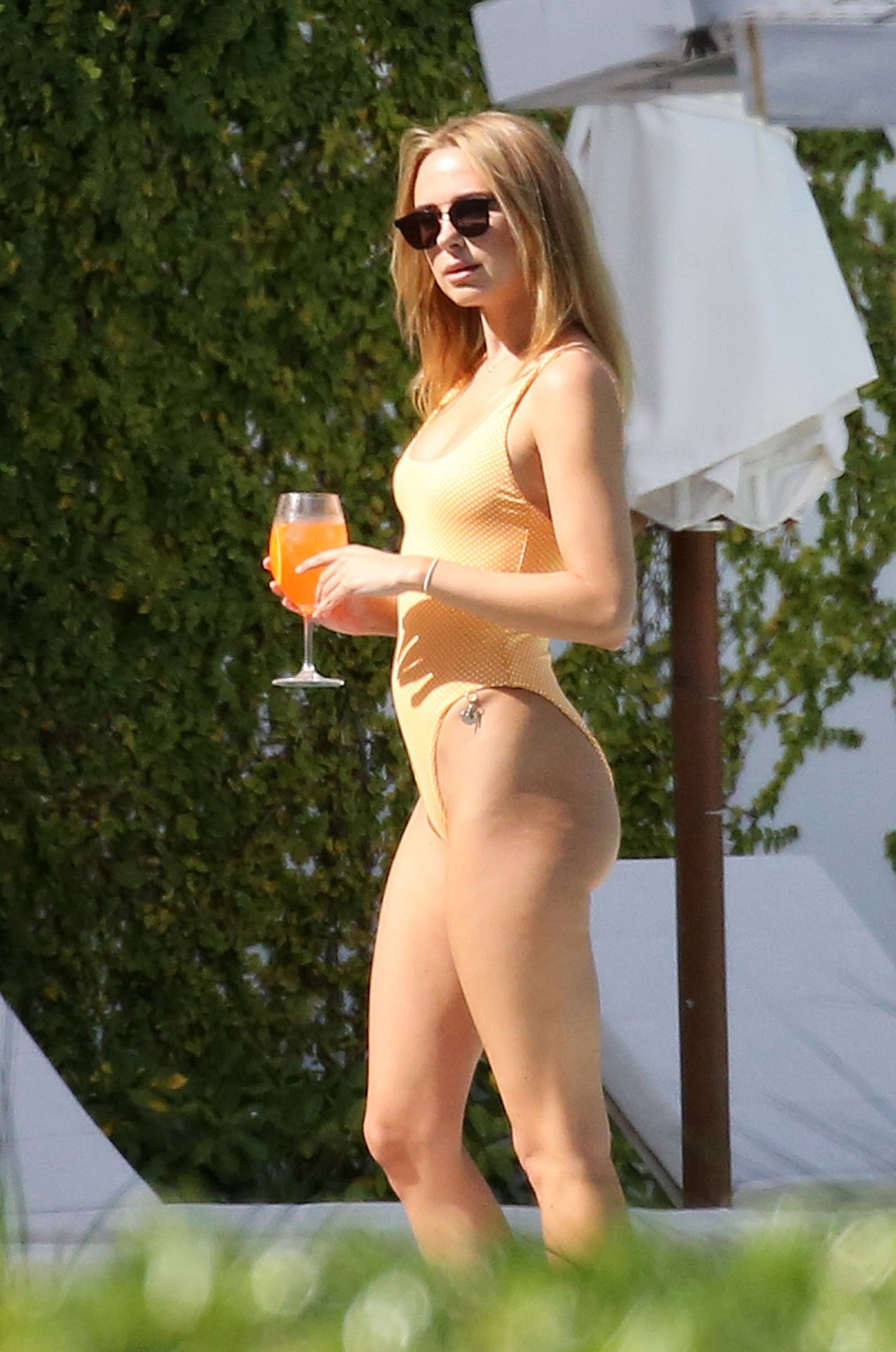 Kimberley Garner Seen Wearing An Orange Swimsuit In Miami 0005