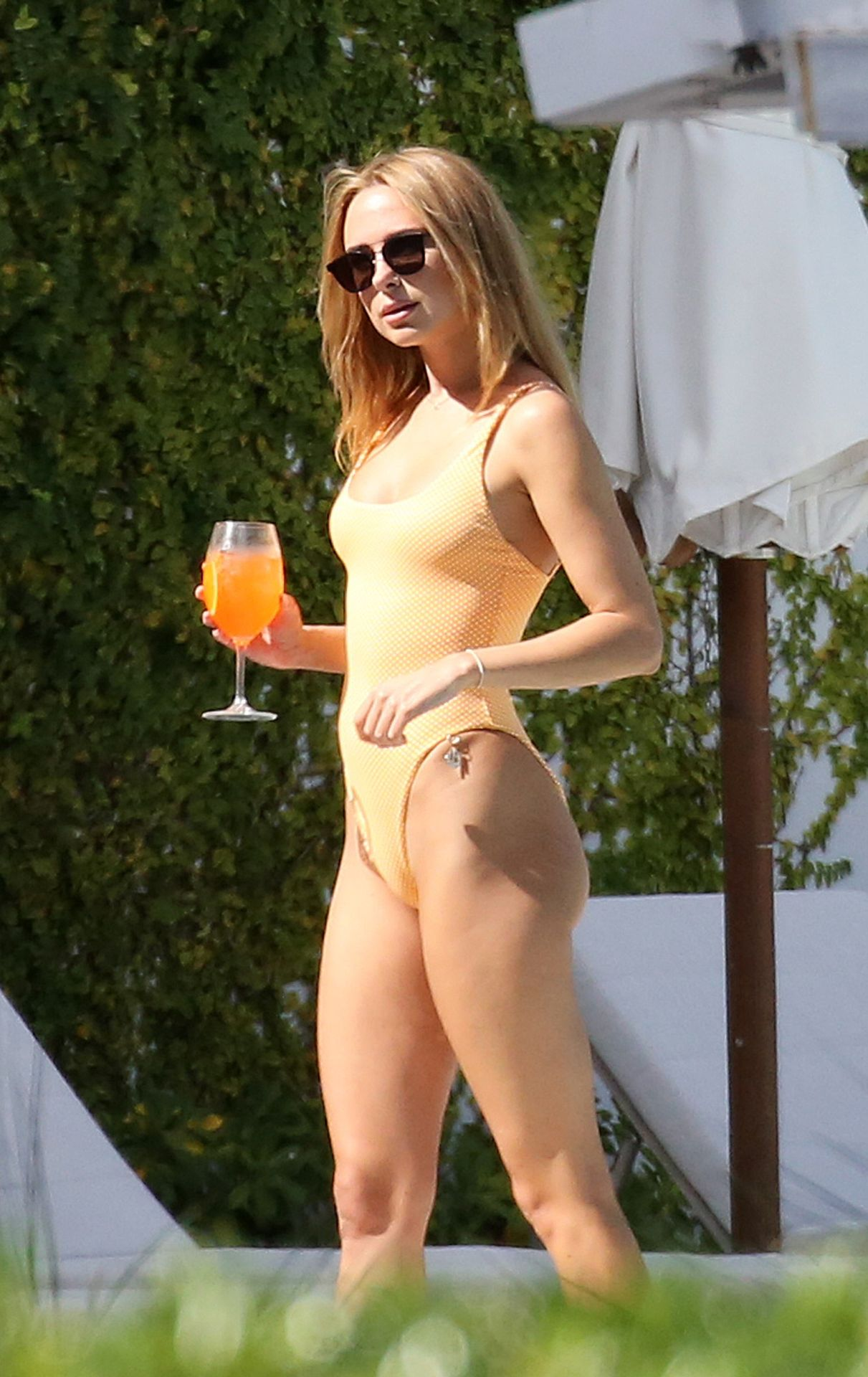 Kimberley Garner Seen Wearing An Orange Swimsuit In Miami 0006
