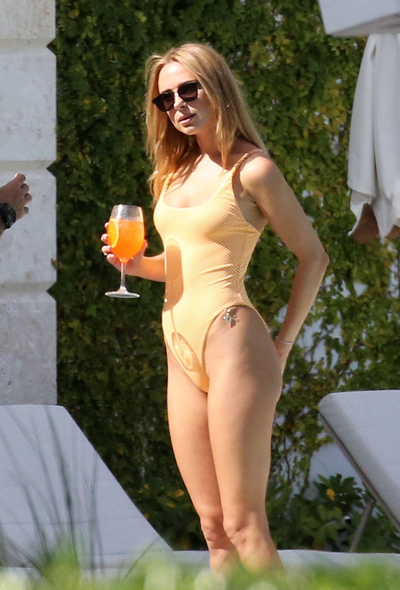Kimberley Garner Seen Wearing An Orange Swimsuit In Miami 0007