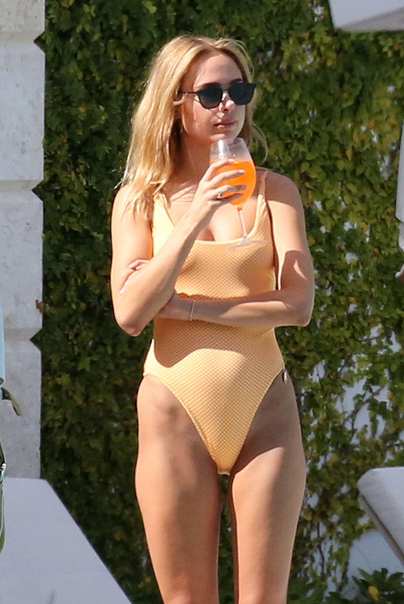 Kimberley Garner Seen Wearing An Orange Swimsuit In Miami 0008