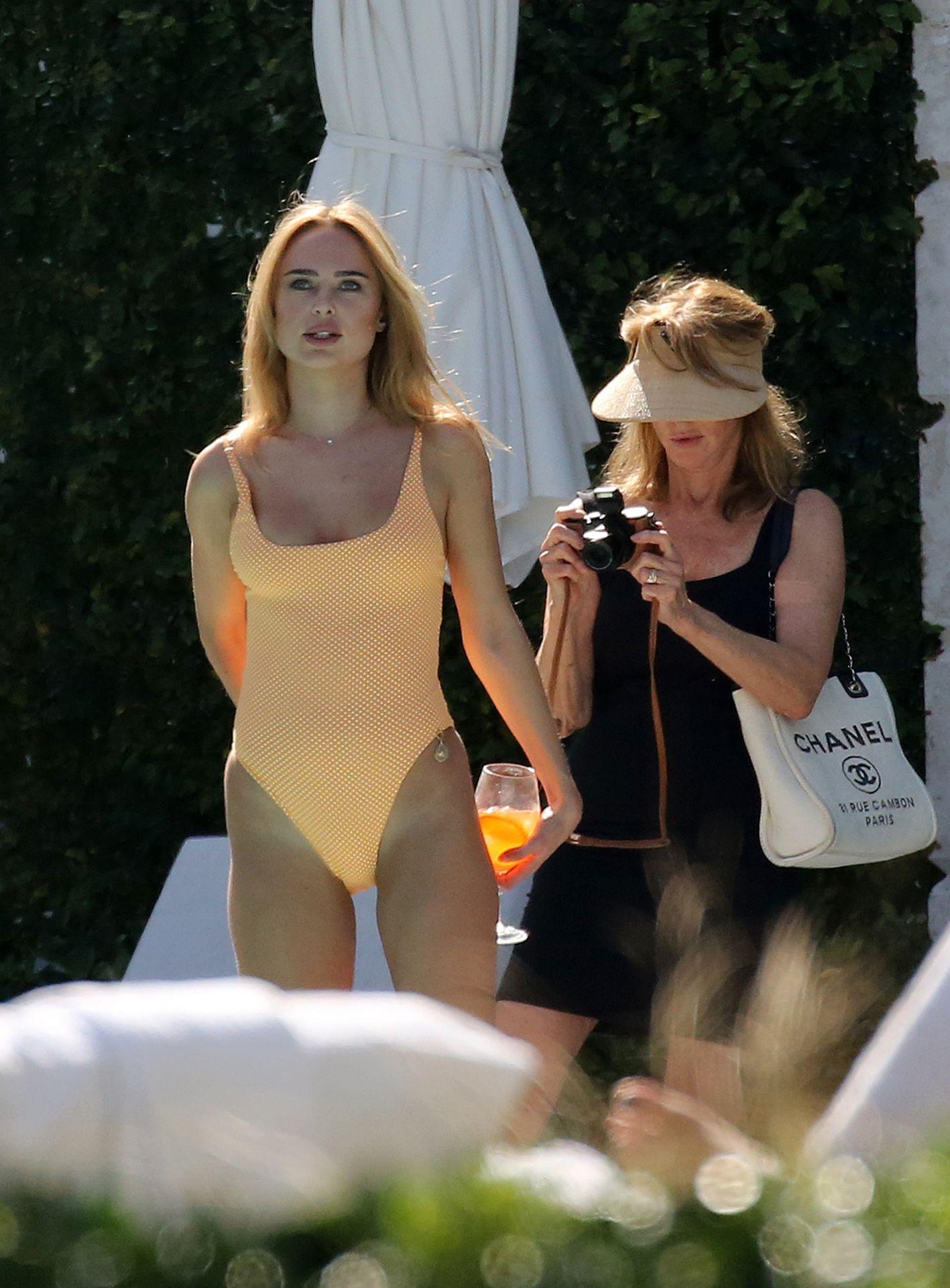 Kimberley Garner Seen Wearing An Orange Swimsuit In Miami 0022