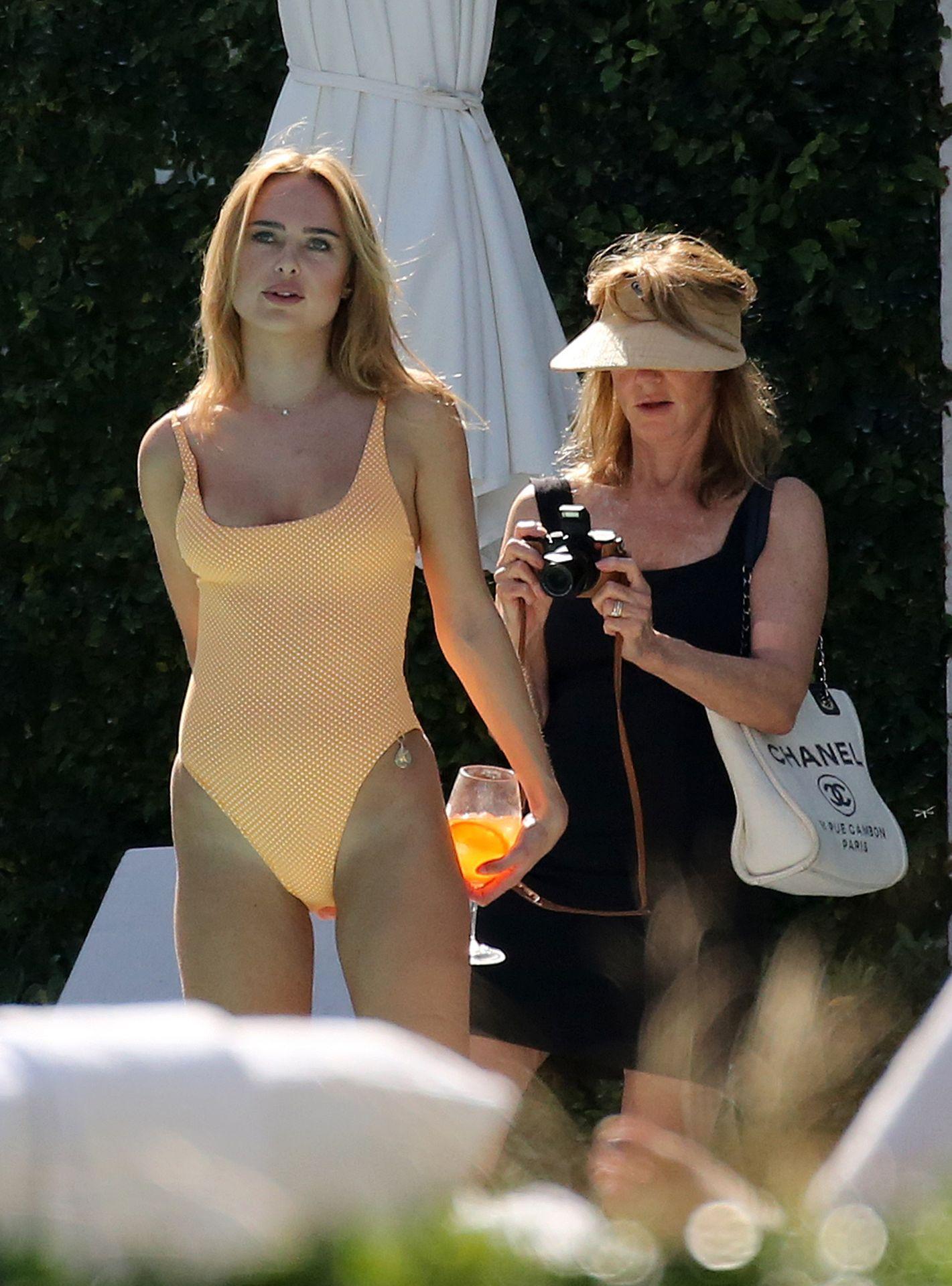 Kimberley Garner Seen Wearing An Orange Swimsuit In Miami 0023