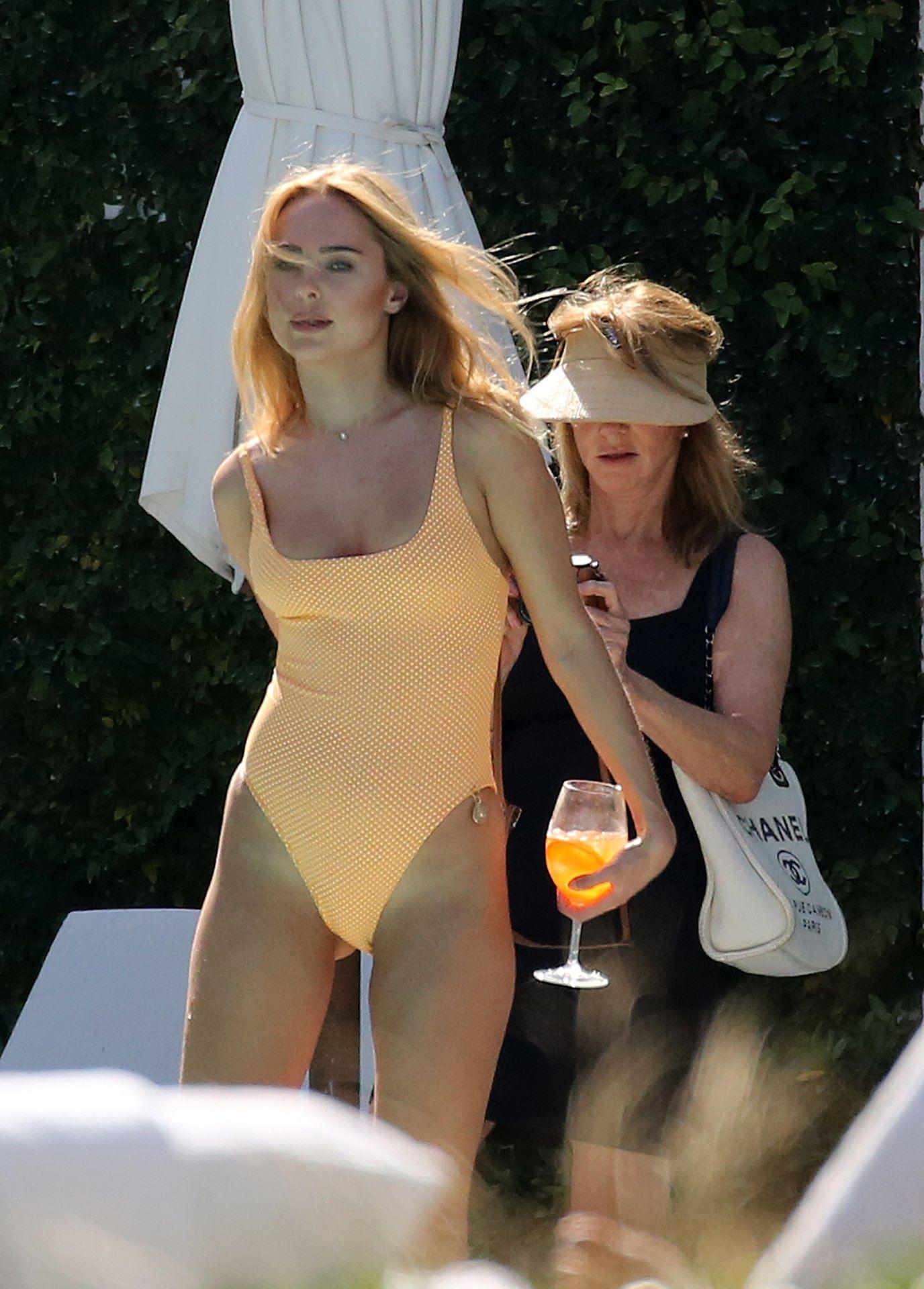 Kimberley Garner Seen Wearing An Orange Swimsuit In Miami 0025