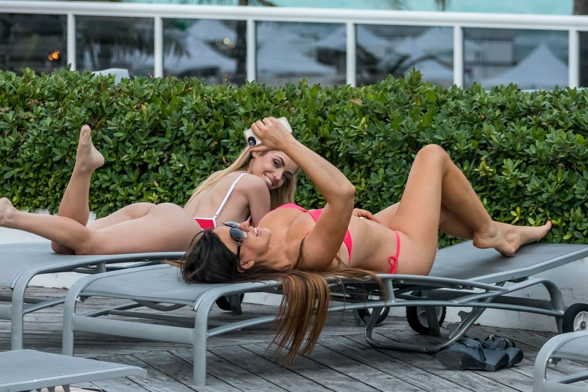 Claudia Romani And Her Friend Cloe Greco Chill By The Pool 0014