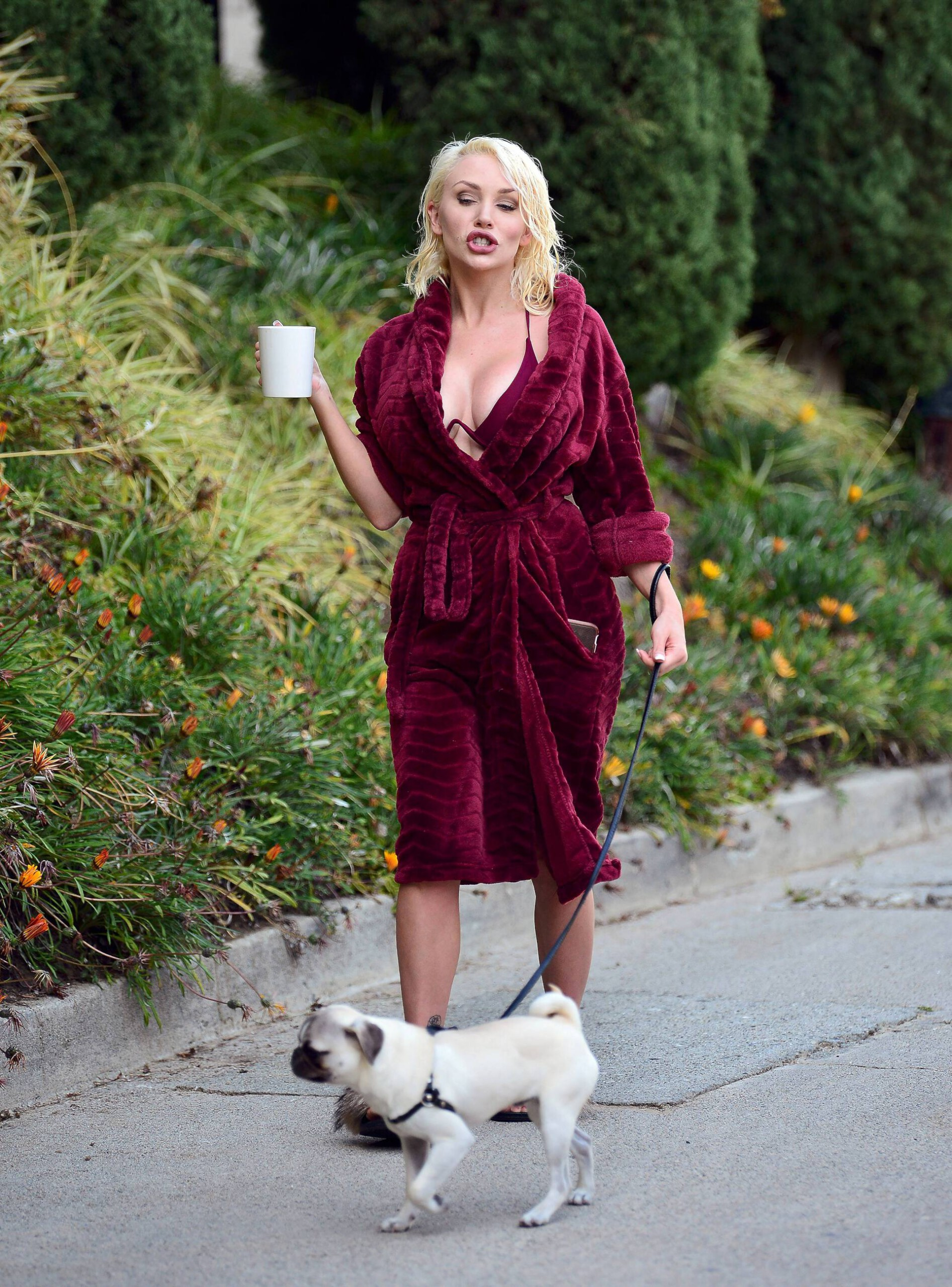 Courtney Stodden Sexy Boobs In Risque Robe Out In Los Angeles 0011