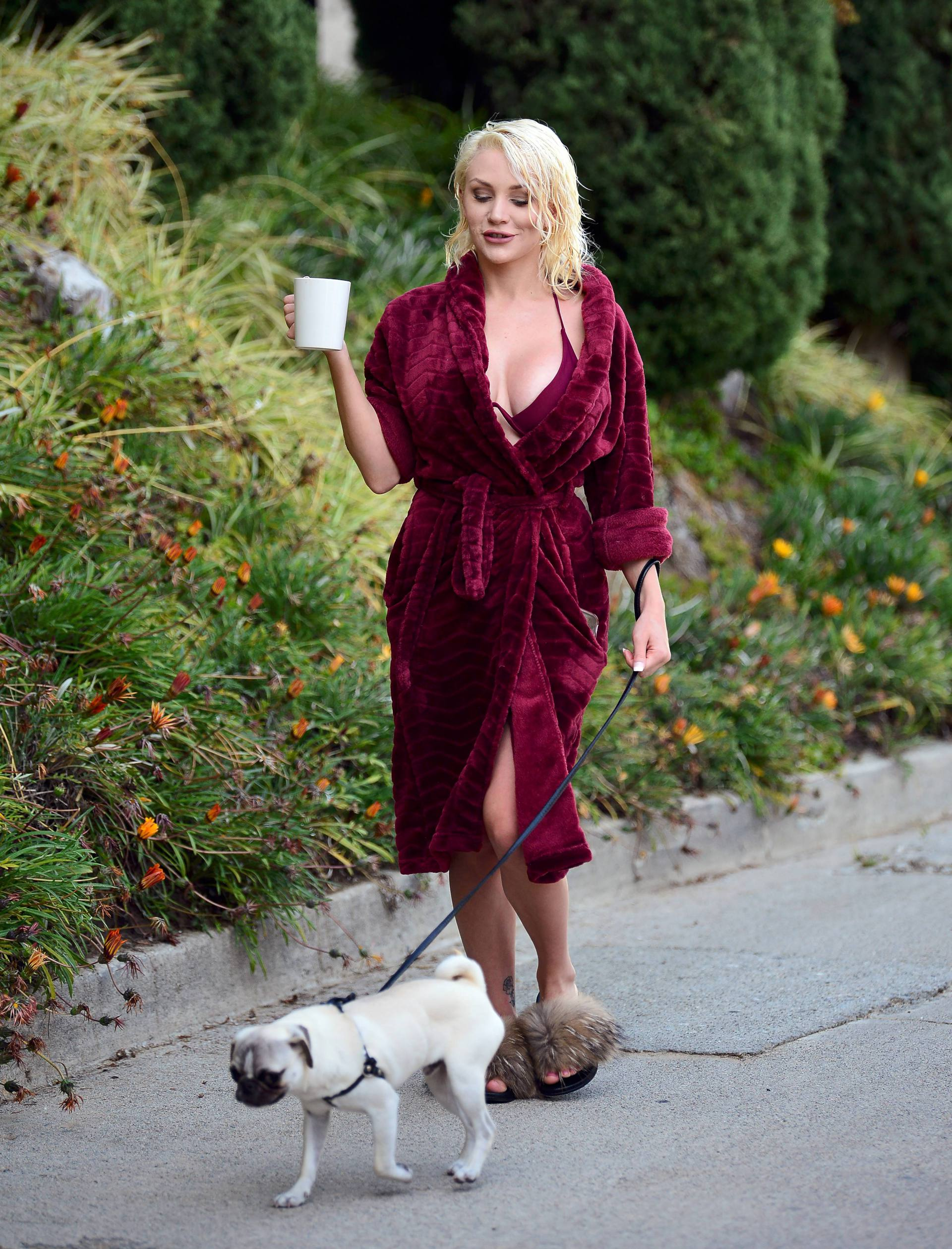 Courtney Stodden Sexy Boobs In Risque Robe Out In Los Angeles 0014