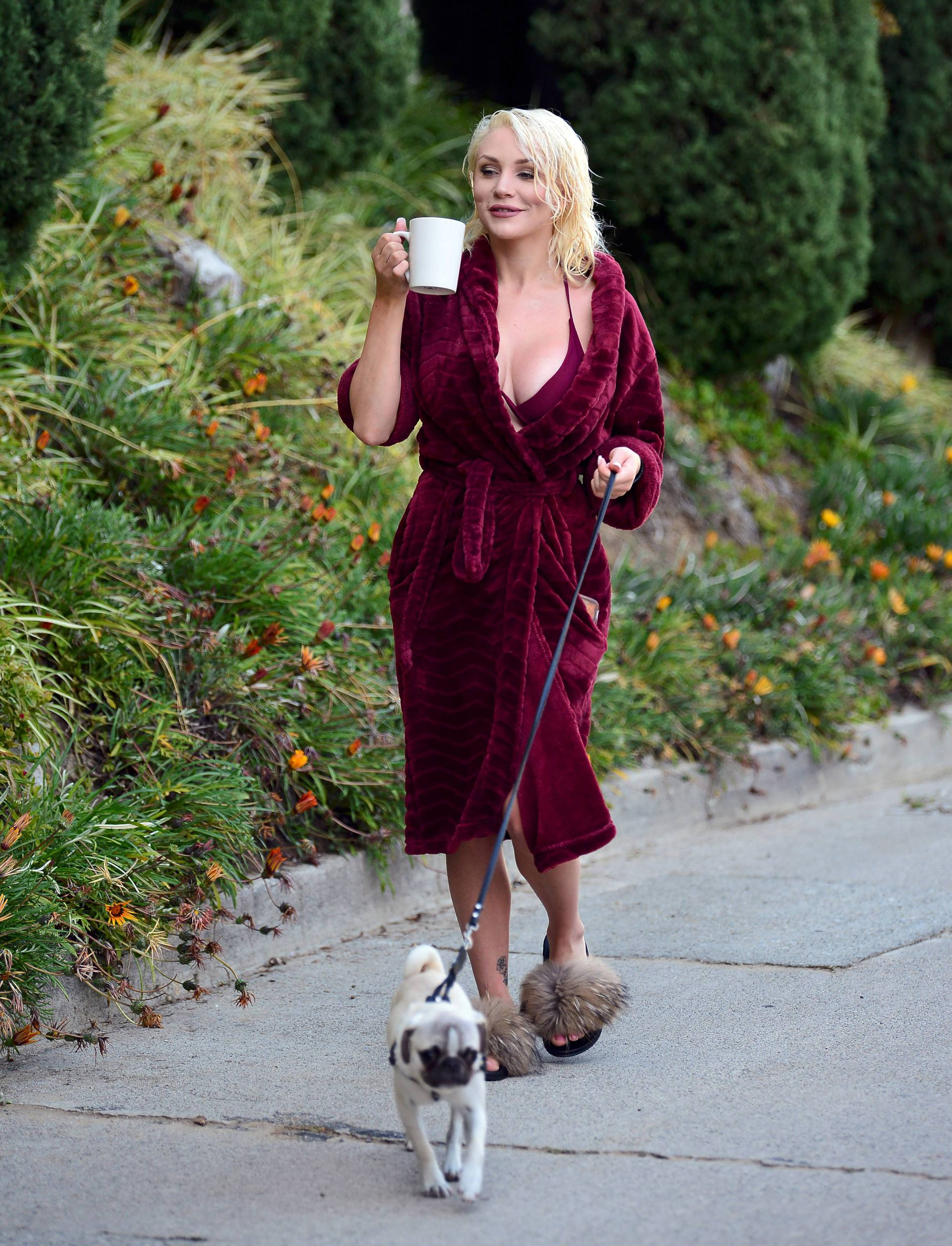 Courtney Stodden Sexy Boobs In Risque Robe Out In Los Angeles 0016