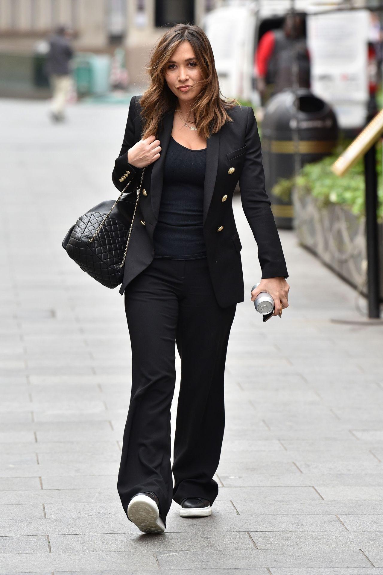 Myleene Klass Looks Hot In All Black In London 0009