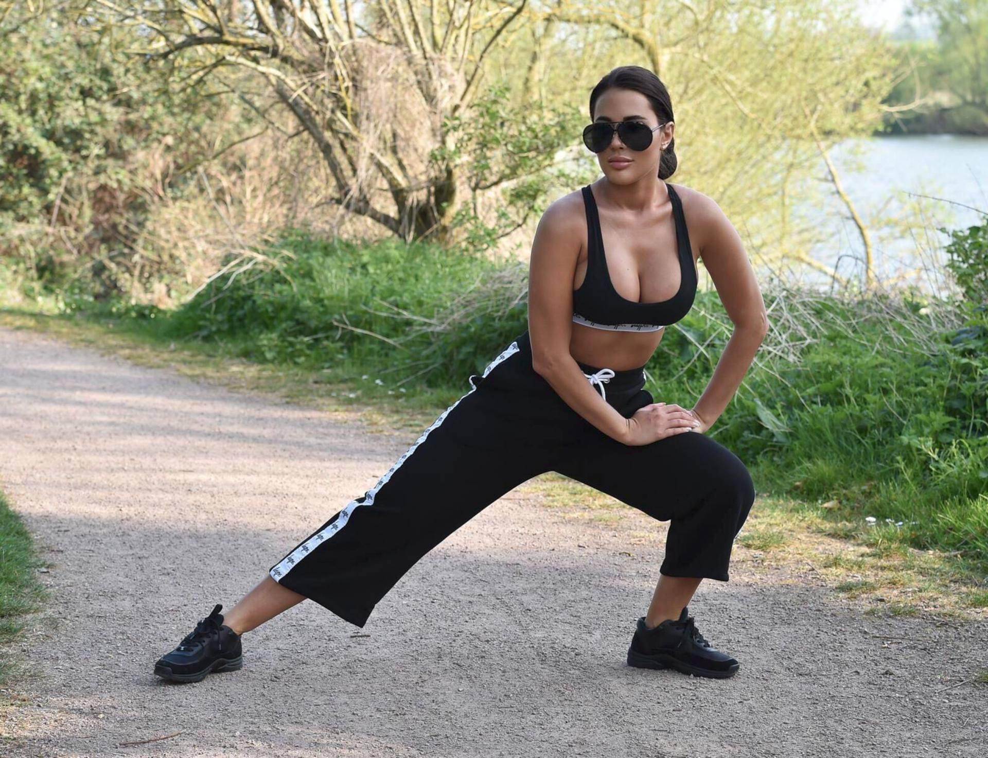 Yazmin Oukhellou Sexy Boobs In Sports Bra Out In A Park In Essex 0003