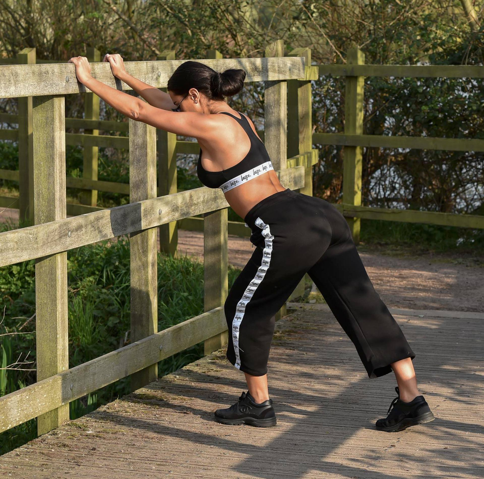 Yazmin Oukhellou Sexy Boobs In Sports Bra Out In A Park In Essex 0008