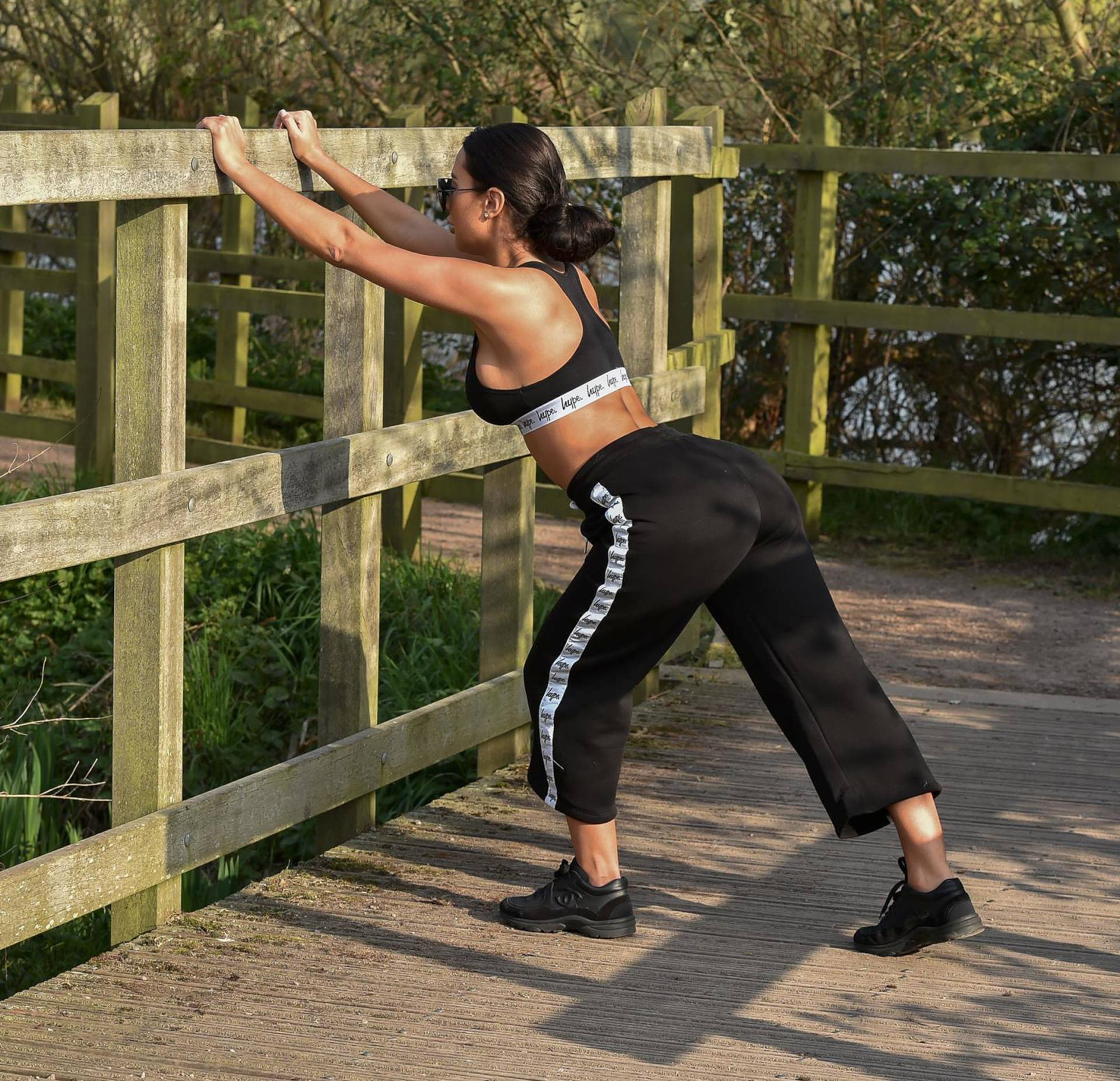 Yazmin Oukhellou Sexy Boobs In Sports Bra Out In A Park In Essex 0010