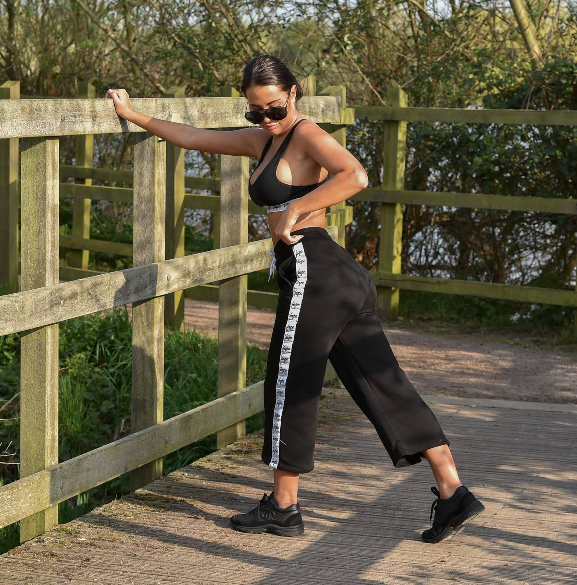 Yazmin Oukhellou Sexy Boobs In Sports Bra Out In A Park In Essex 0012