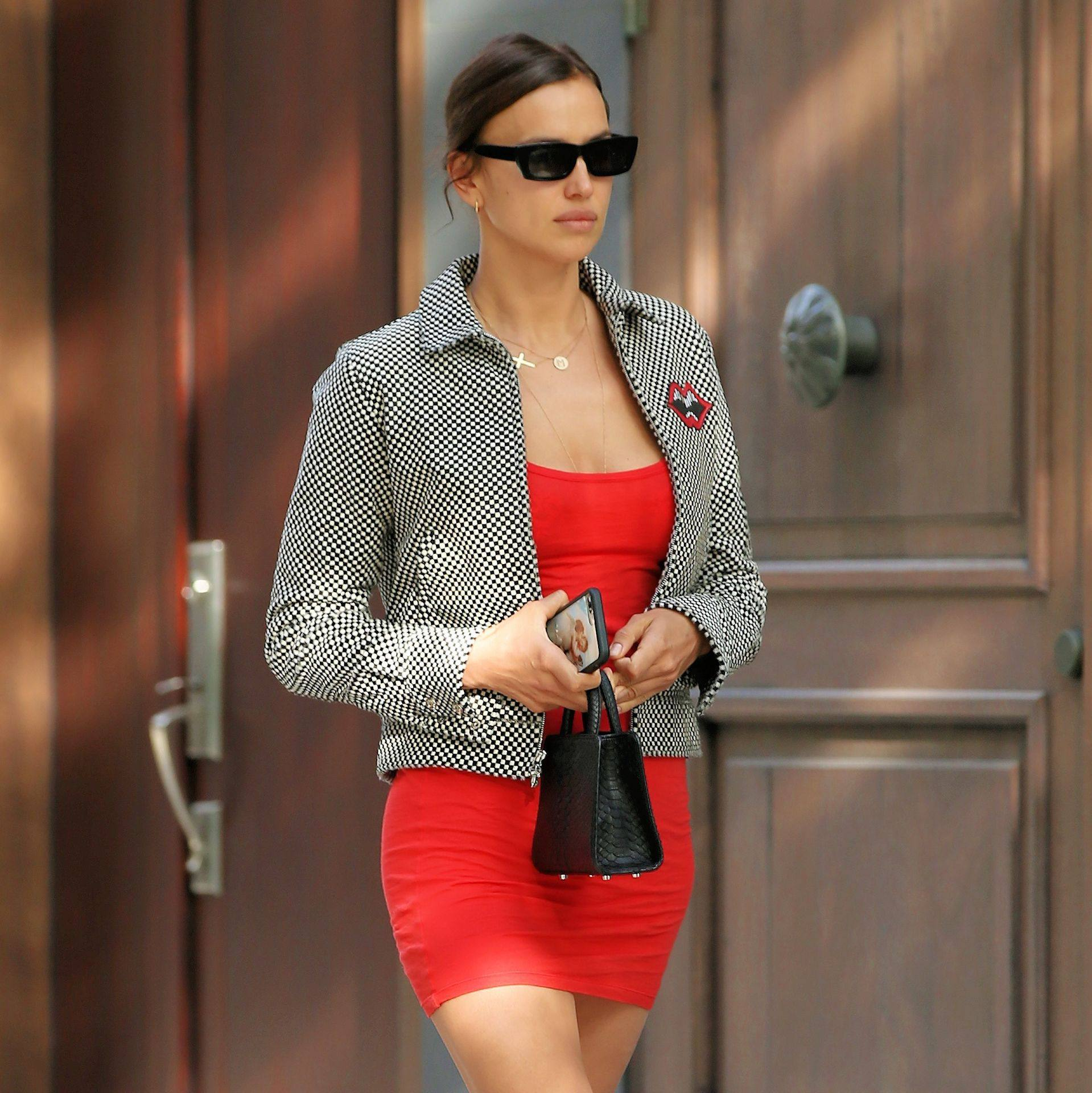 Irina Shayk – Sexy Legs In Short Red Dress Out In New York 0002