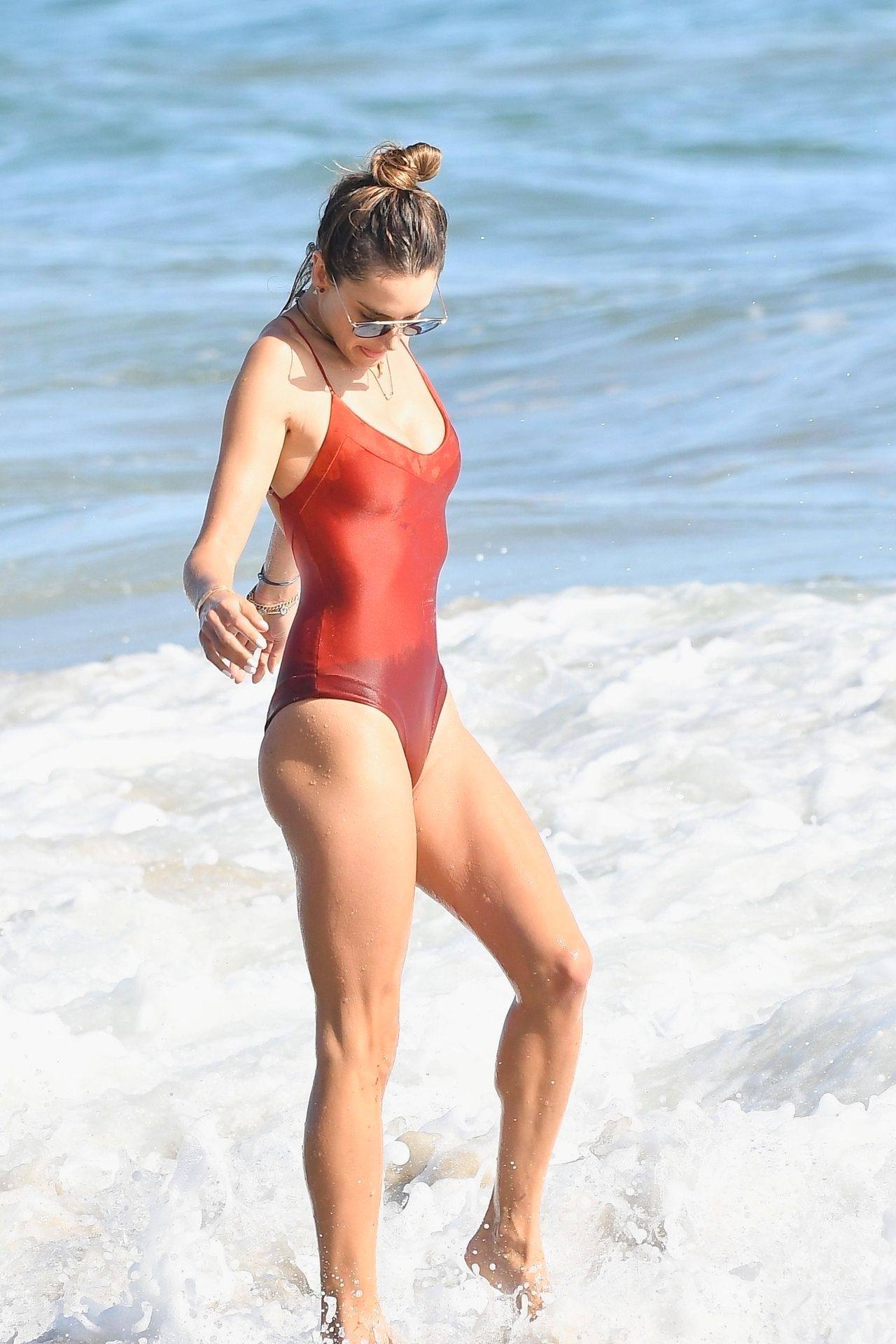 Alessandra Ambrosio – Sexy Ass In Red Swimsuit At The Beach In Malibu 0006