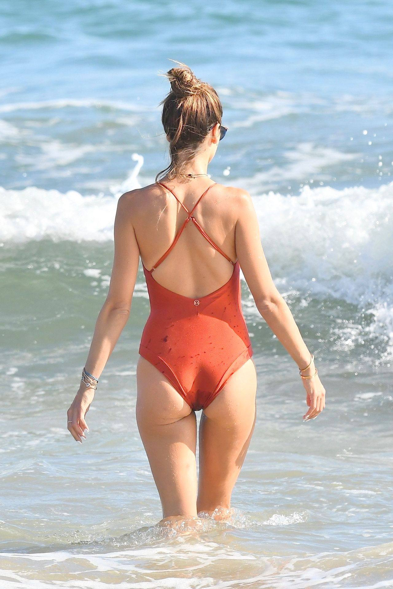 Alessandra Ambrosio – Sexy Ass In Red Swimsuit At The Beach In Malibu 0019