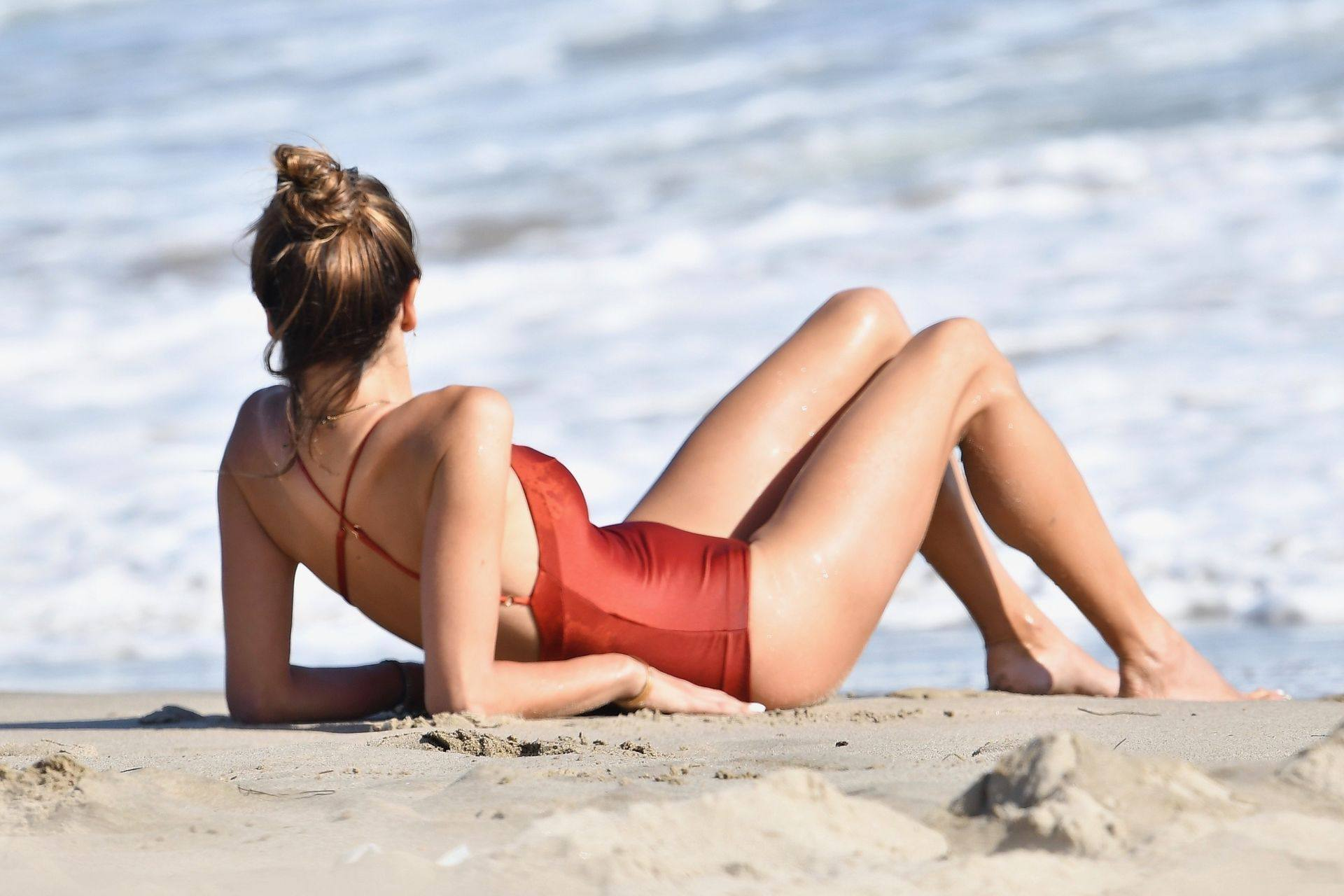 Alessandra Ambrosio – Sexy Ass In Red Swimsuit At The Beach In Malibu 0021