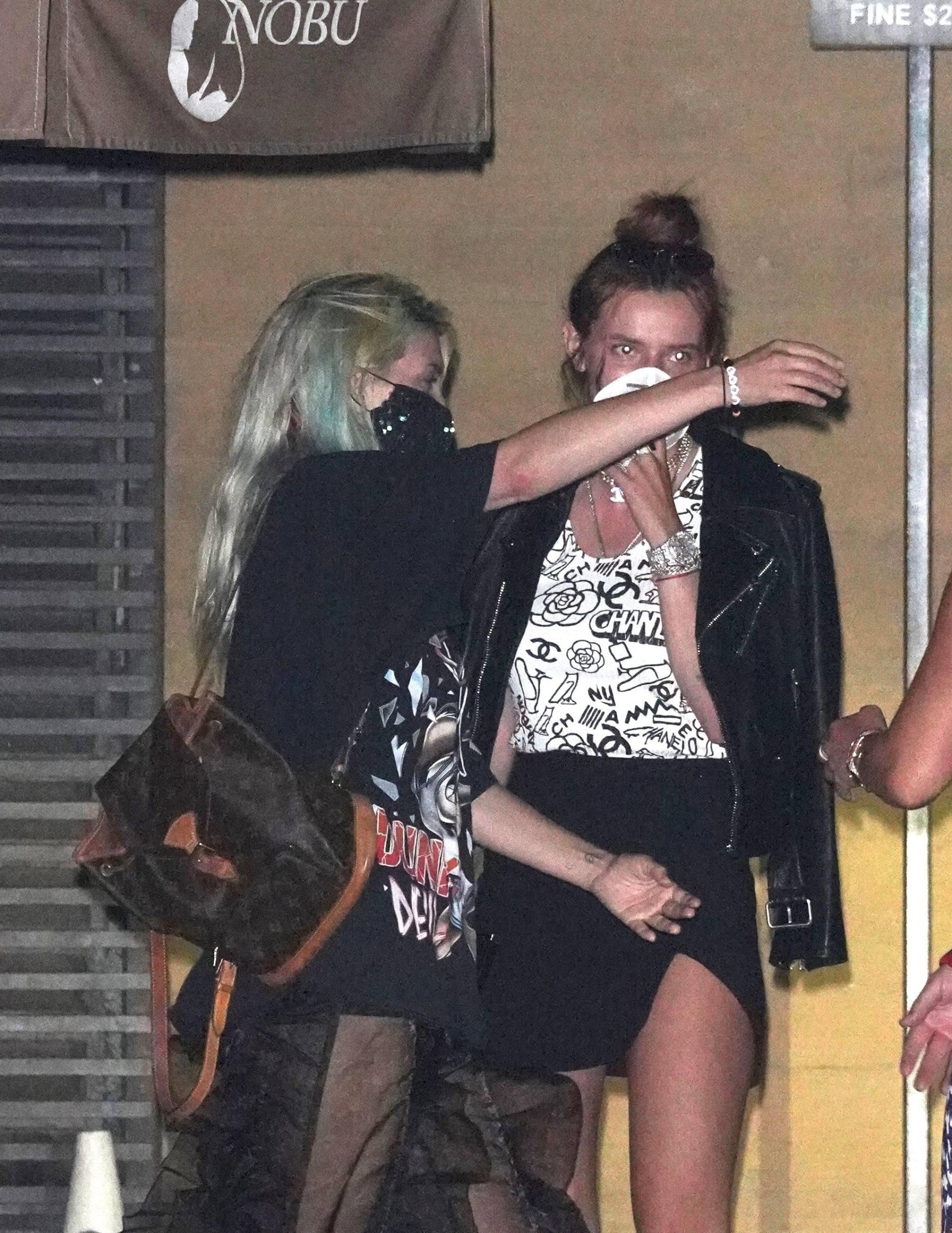 Bella & Dani Thorne – Sexy Legs In Mini Skirts At Nobu In Malibu 0004