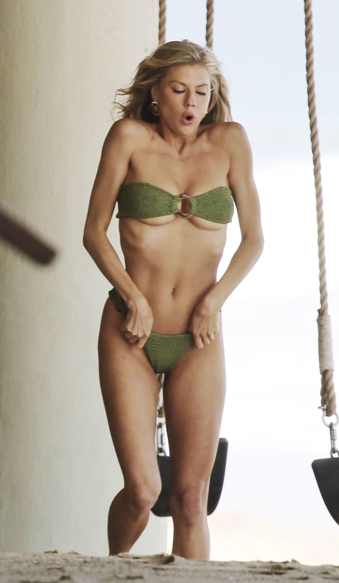 Charlotte Mckinney – Sexy Boobs In Tiny Bikini On The Beach In Los Angeles 0002