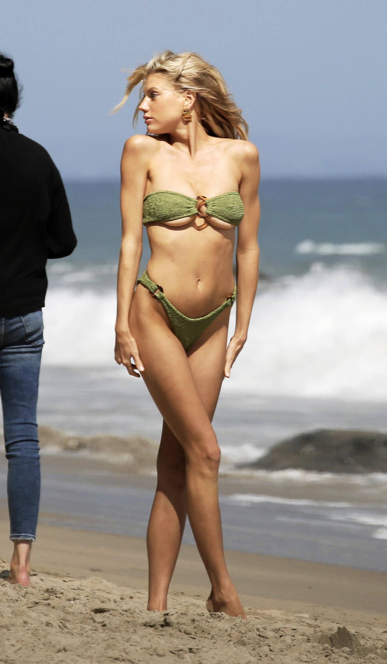 Charlotte Mckinney – Sexy Boobs In Tiny Bikini On The Beach In Los Angeles 0005