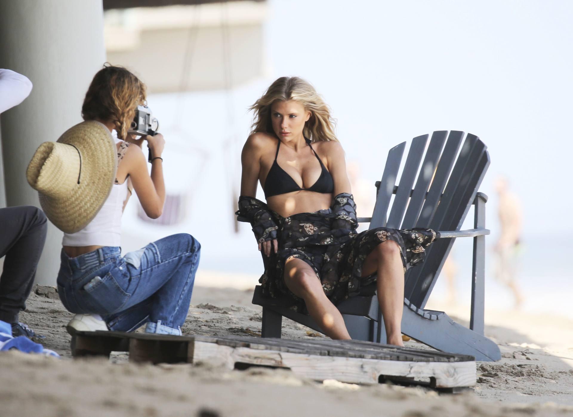 Charlotte Mckinney – Sexy Boobs In Tiny Bikini On The Beach In Los Angeles 0007