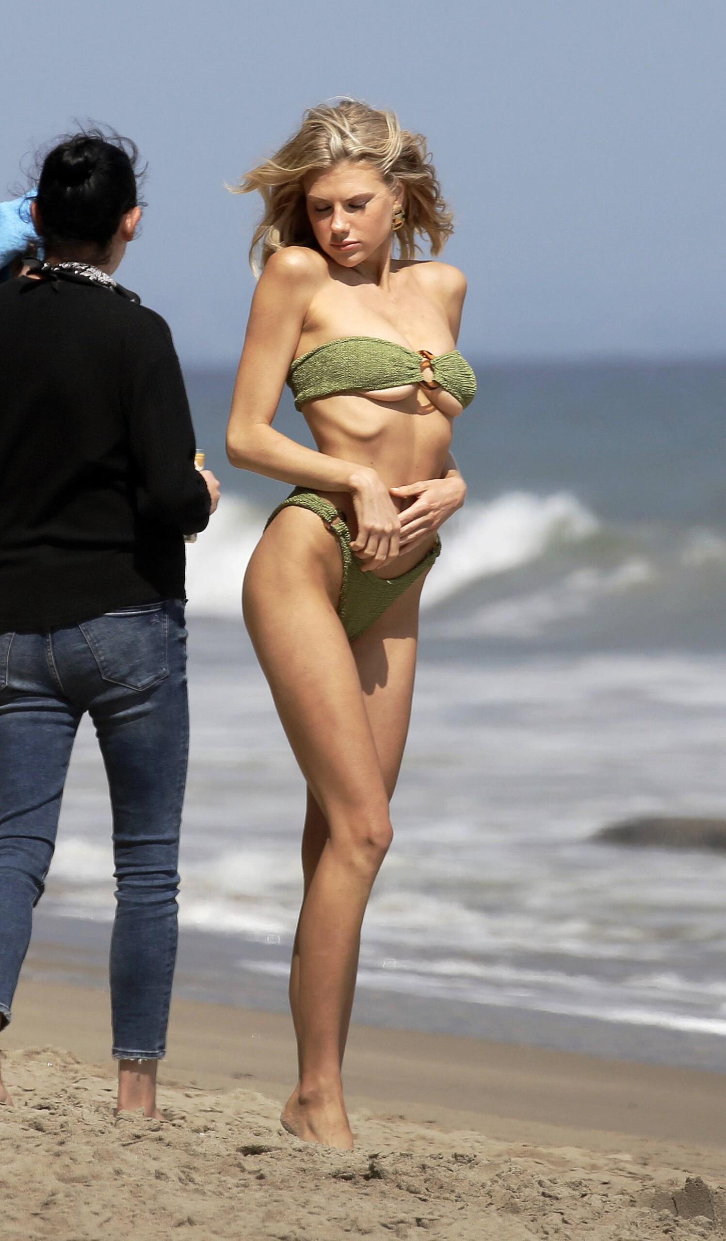 Charlotte Mckinney – Sexy Boobs In Tiny Bikini On The Beach In Los Angeles 0012