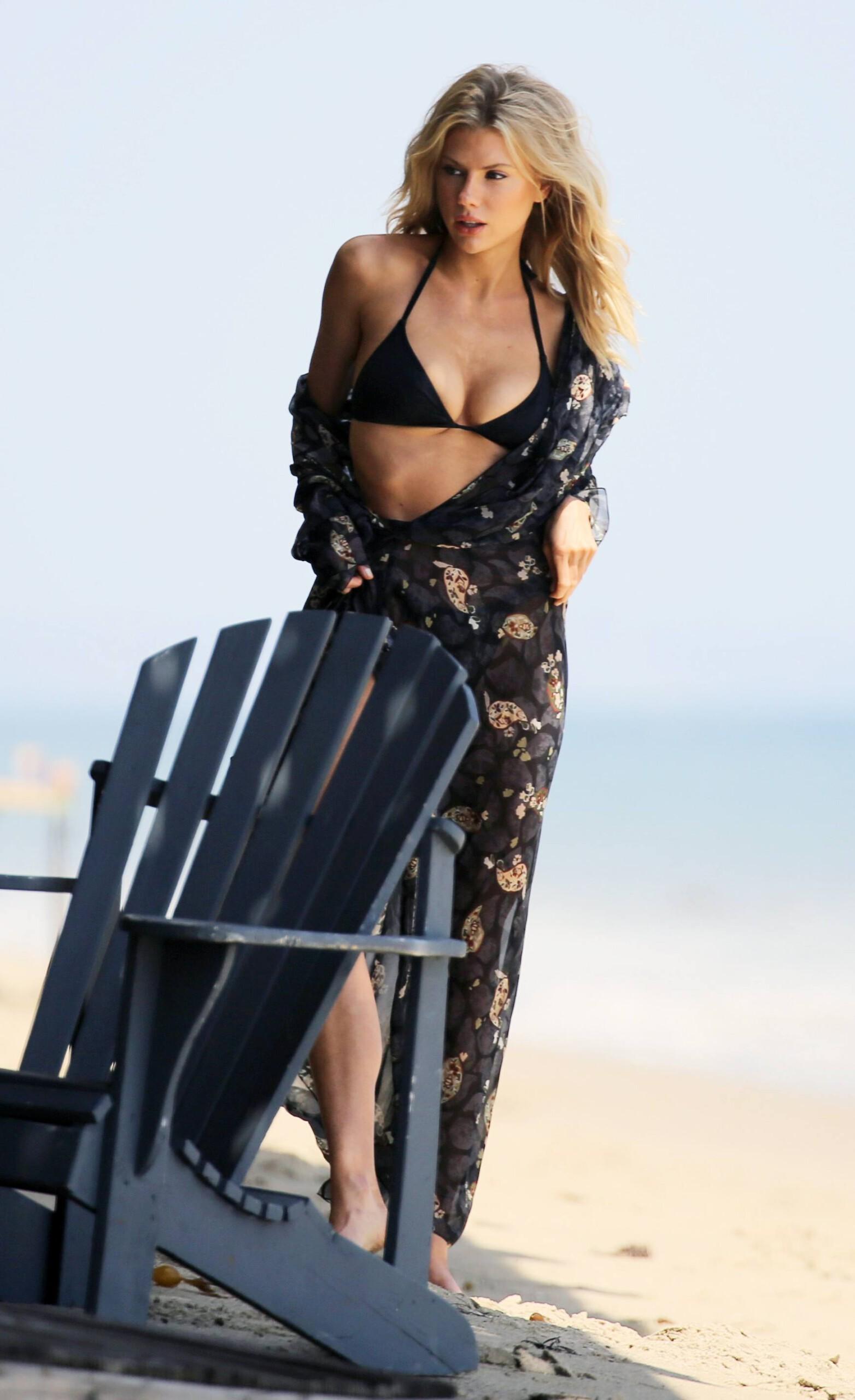 Charlotte Mckinney – Sexy Boobs In Tiny Bikini On The Beach In Los Angeles 0014