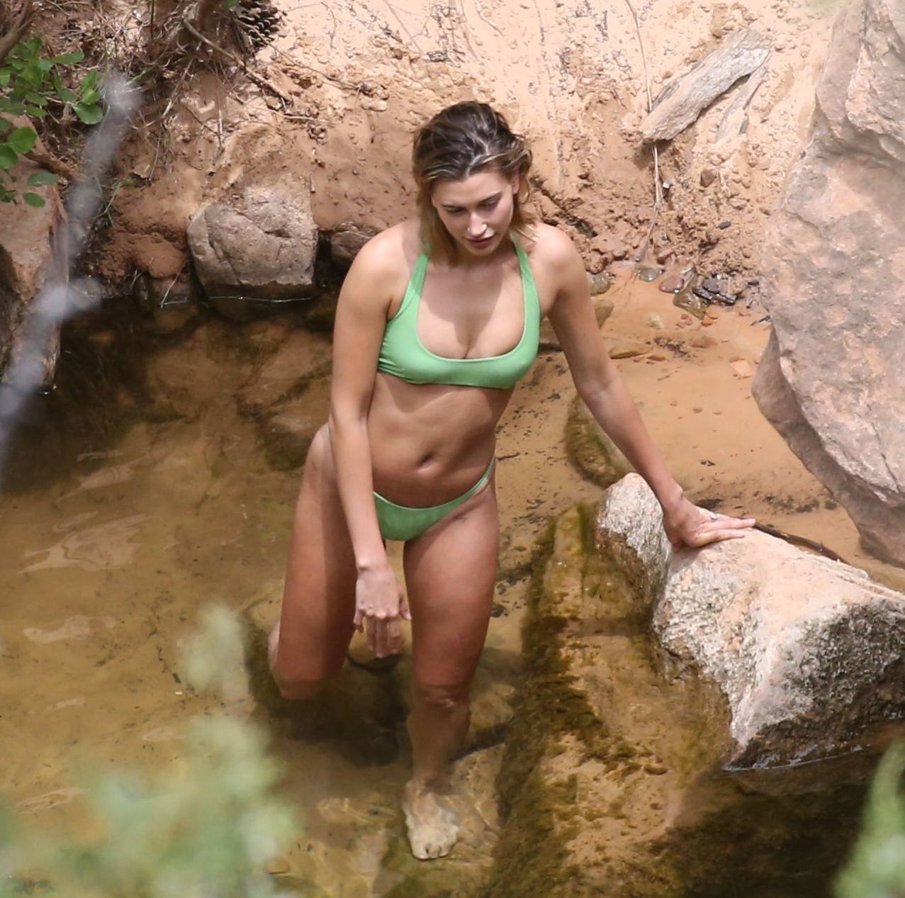 Hailey Bieber – Sexy Body In Green Bikini In Utah 0007