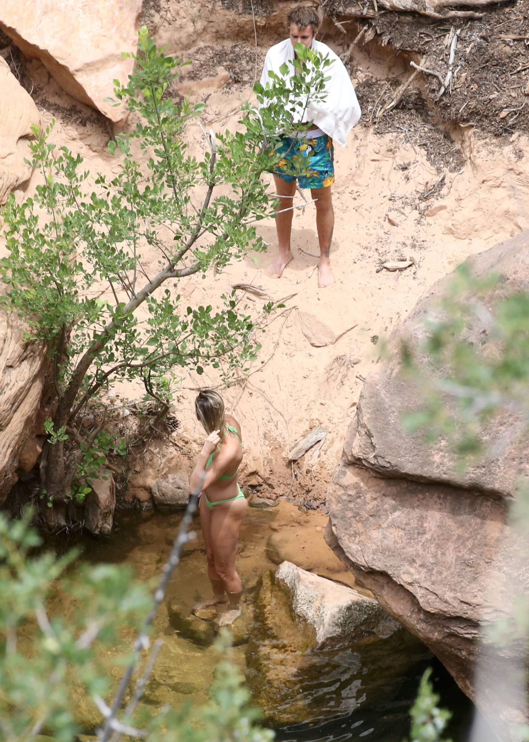 Hailey Bieber – Sexy Body In Green Bikini In Utah 0013
