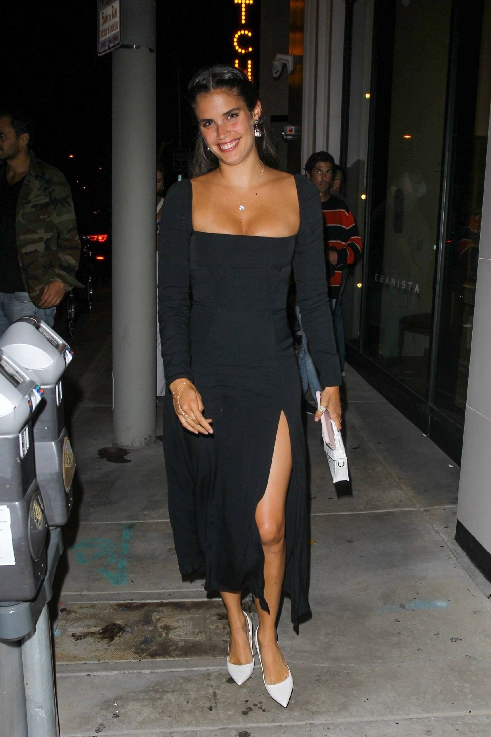 Sara Sampaio – Beautiful In Sexy Black Dress At Catch Restaurant In West Hollywood 0001